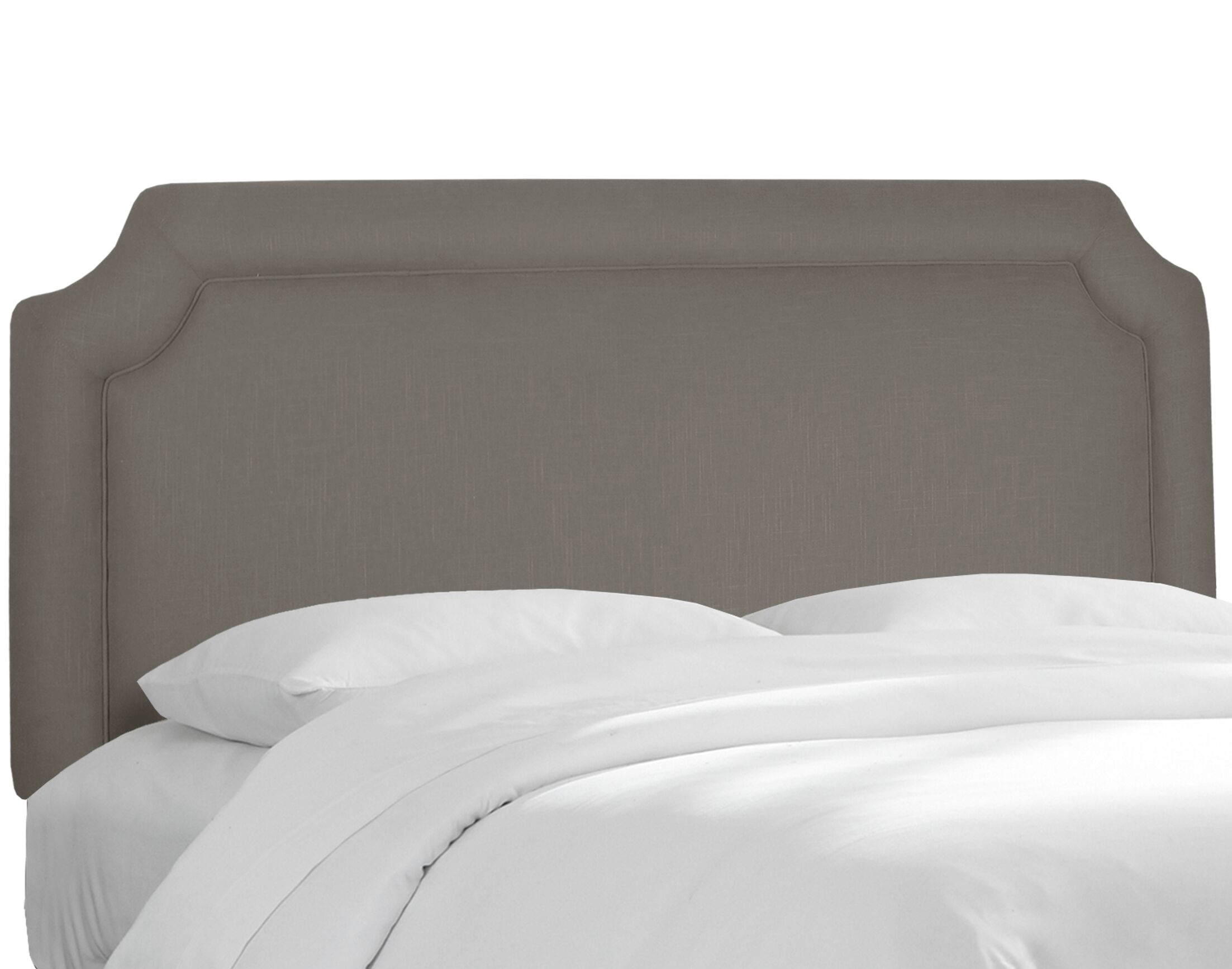 Twill Notched Upholstered Panel Headboard Upholstery: Twill Grey, Size: California King