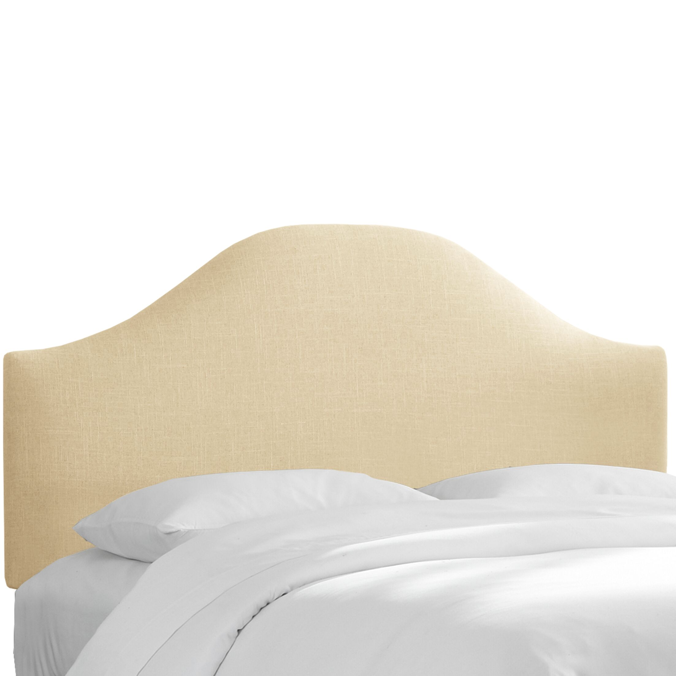Curved Upholstered Panel Headboard Size: Full, Upholstery: Natural