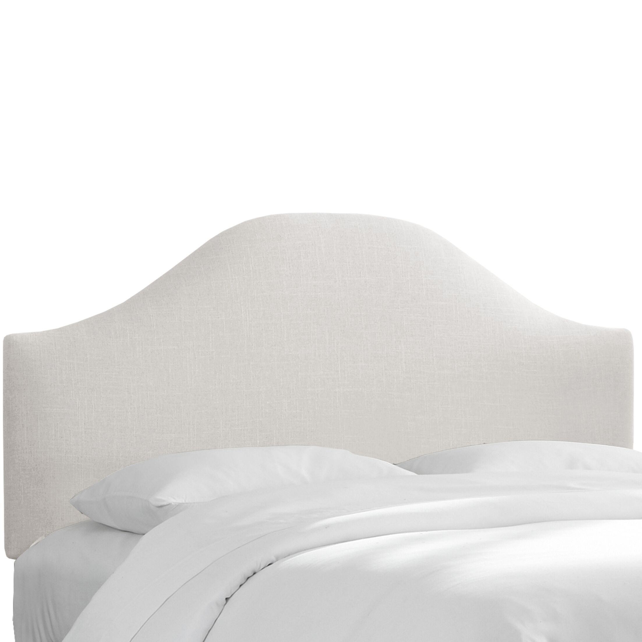Curved Upholstered Panel Headboard Upholstery: White, Size: Queen