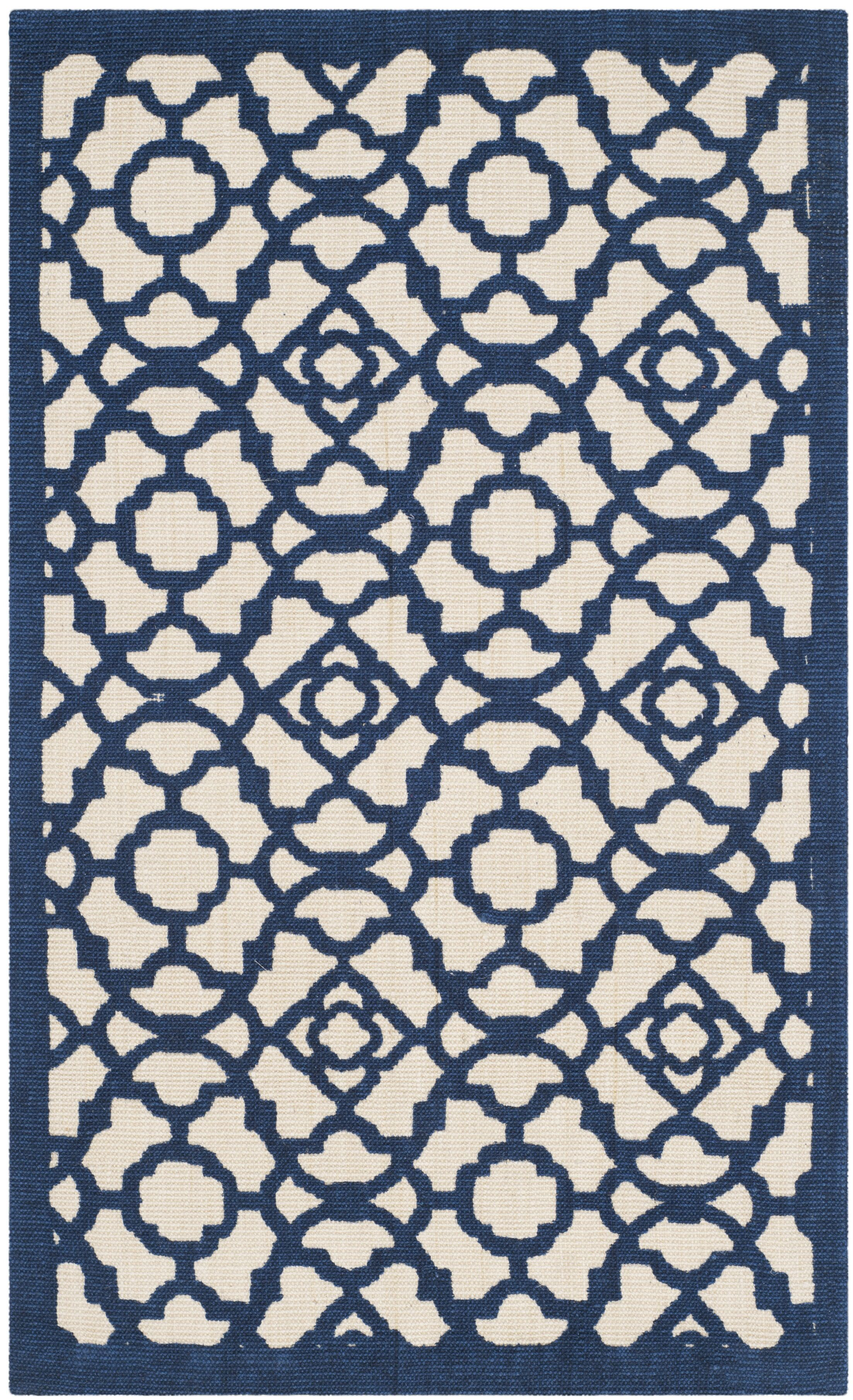 Quentin Road Ivory & Navy Area Rug Rug Size: 8' x 10'