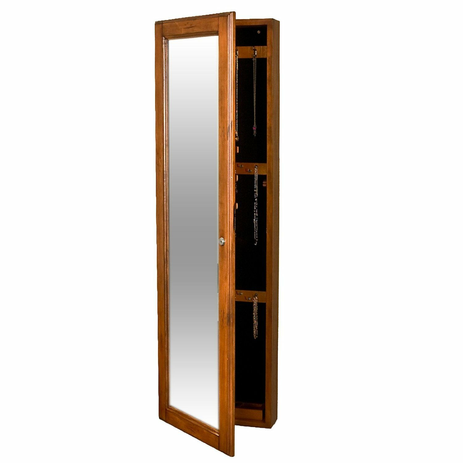 Chauncey Wall-Mounted Jewelry Armoire with  Mirror Color: Oak