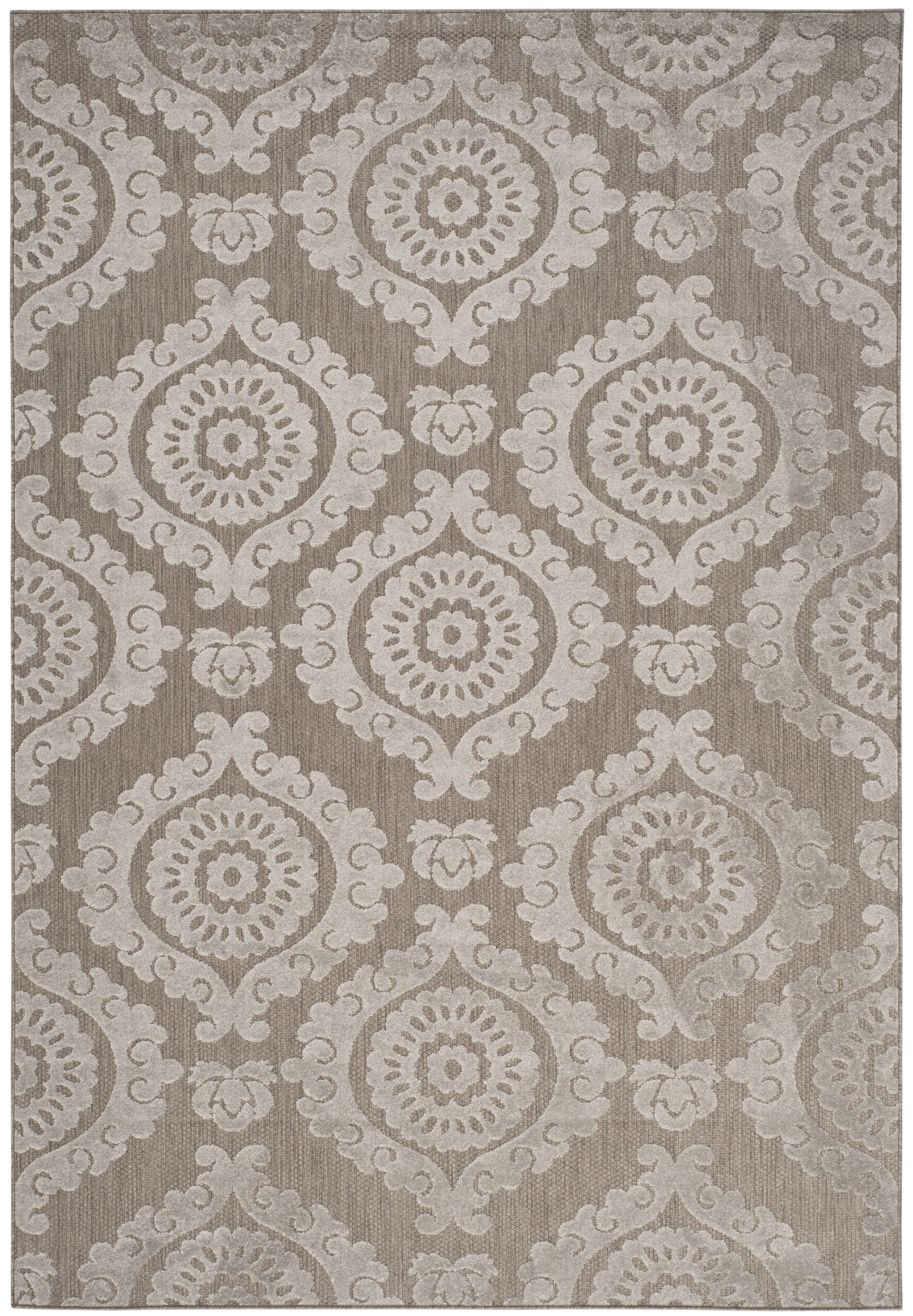 Hughes Suzani Taupe Indoor / Outdoor Area Rug Rug Size: Rectangle 5'3