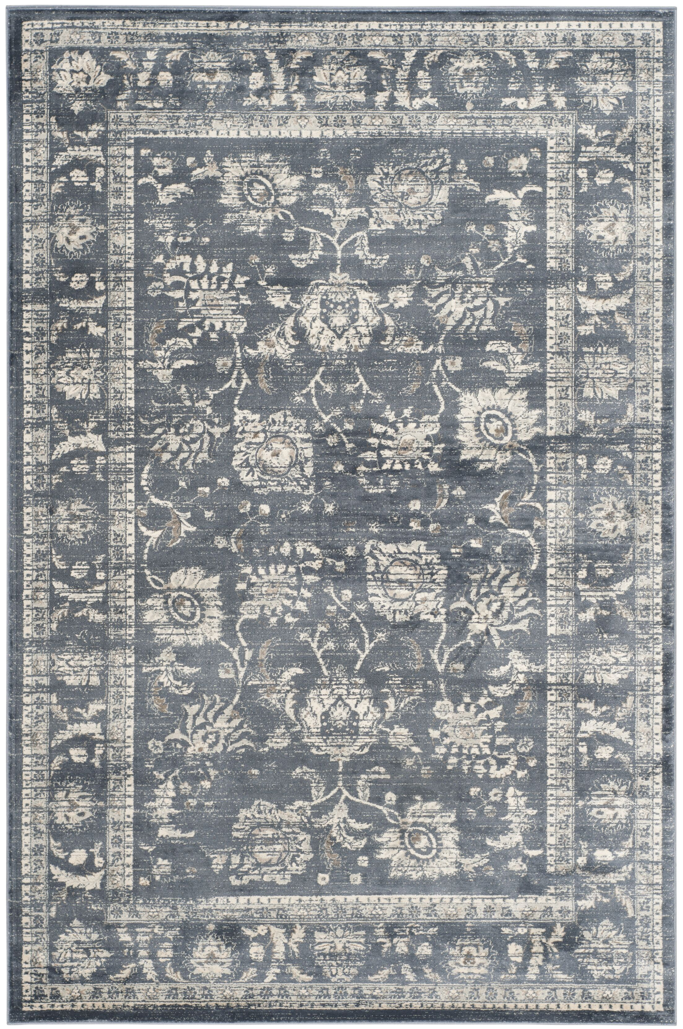Bainsby Dark Grey / Cream Area Rug Rug Size: Rectangle 9' x 12'