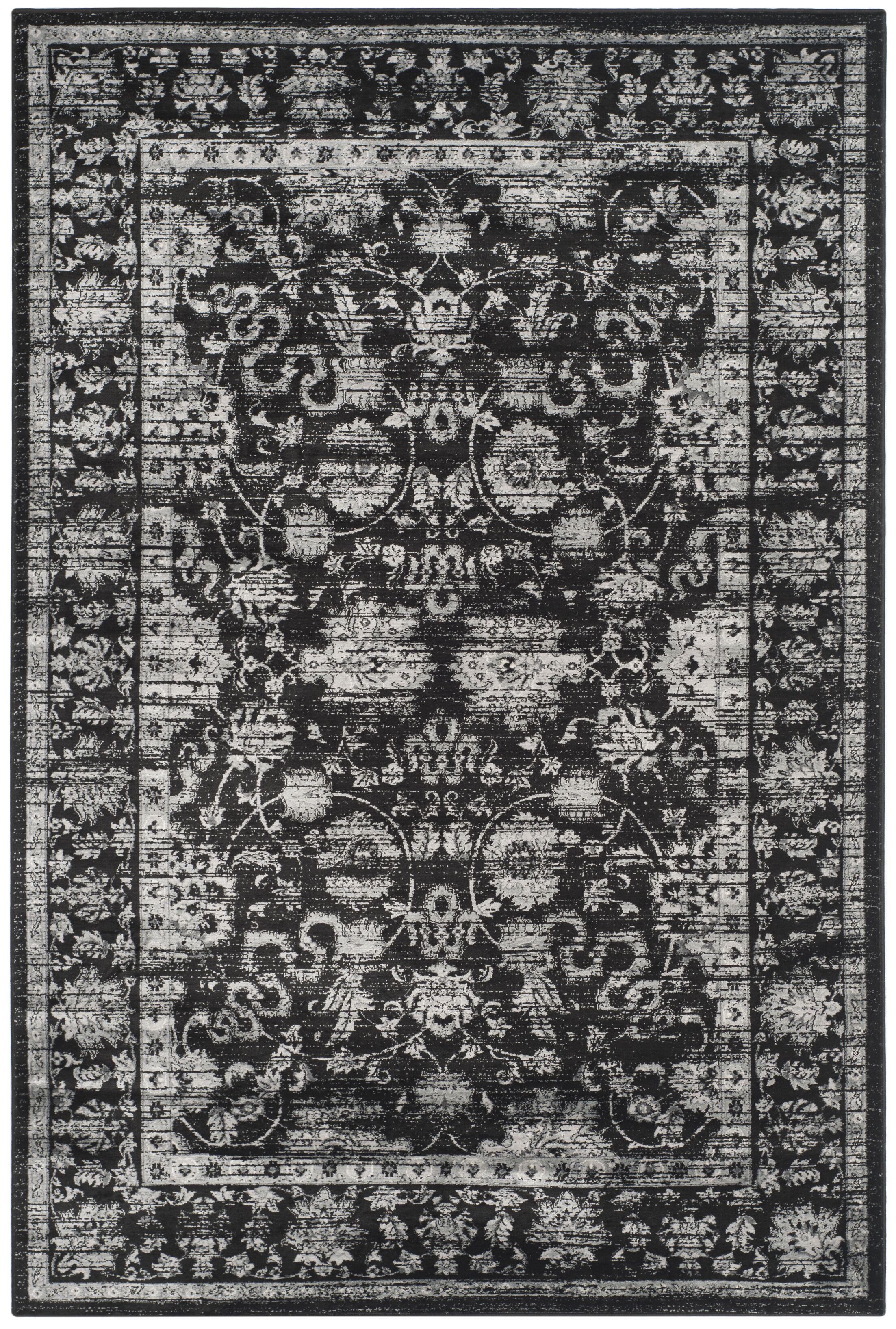 Bainsby Black/Light Grey Area Rug Rug Size: Rectangle 4' x 5'7