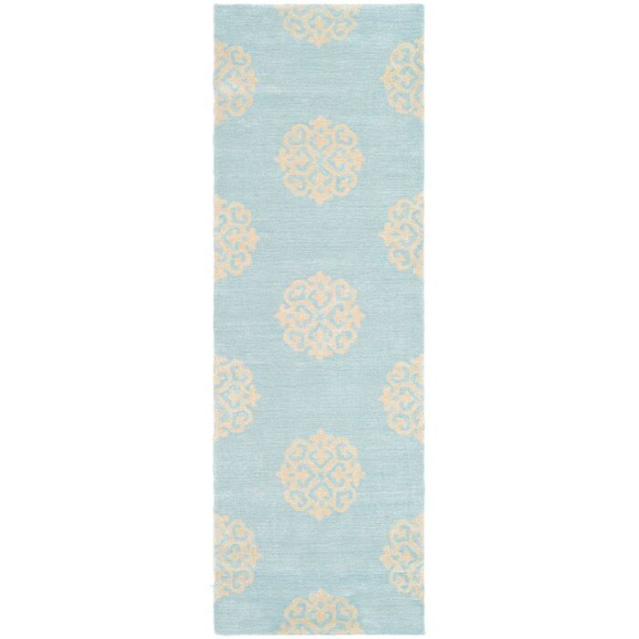 Backstrom Hand-Tufted Turquoise / Yellow Area Rug Rug Size: Runner 2'6