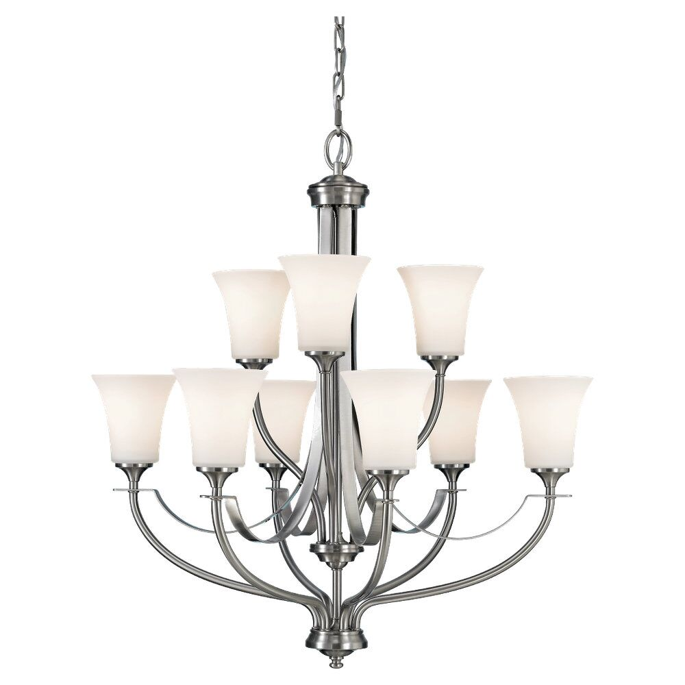 Pompton 9-Light Shaded Chandelier Finish: Brushed Steel