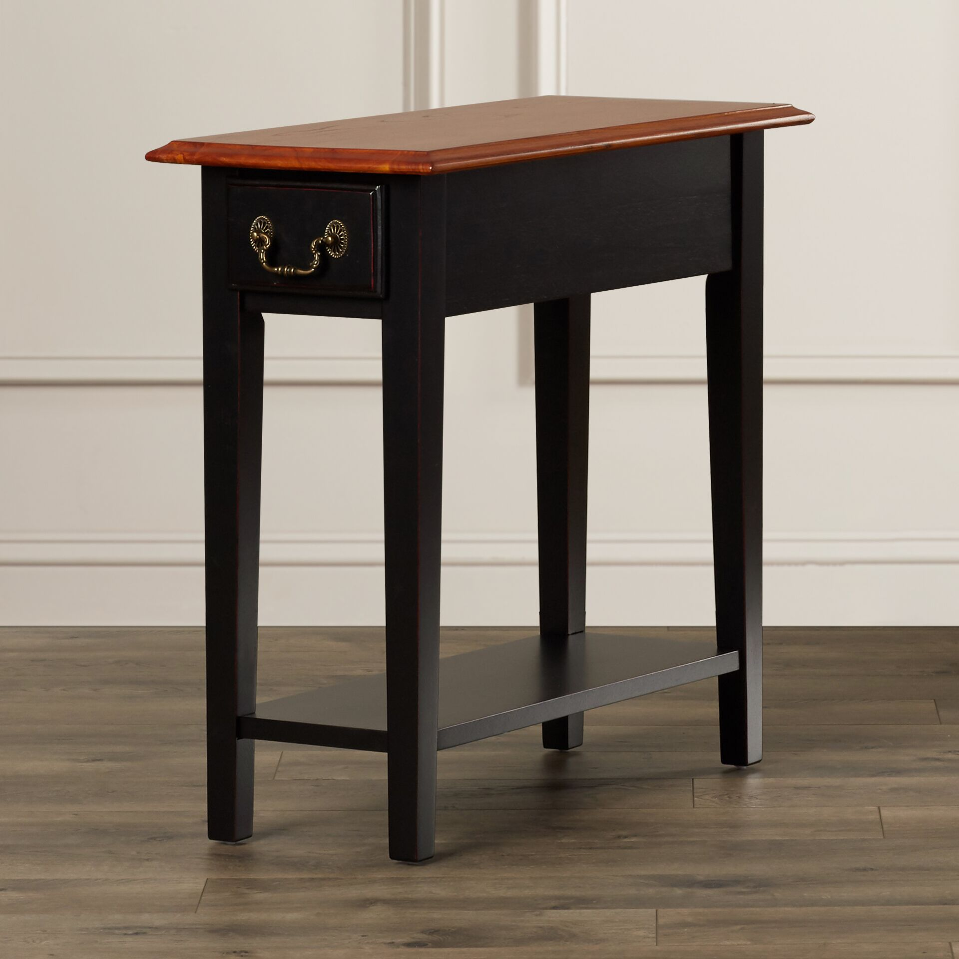 Revere Broomhedge End Table With Storage Color: Brown Cherry / Black