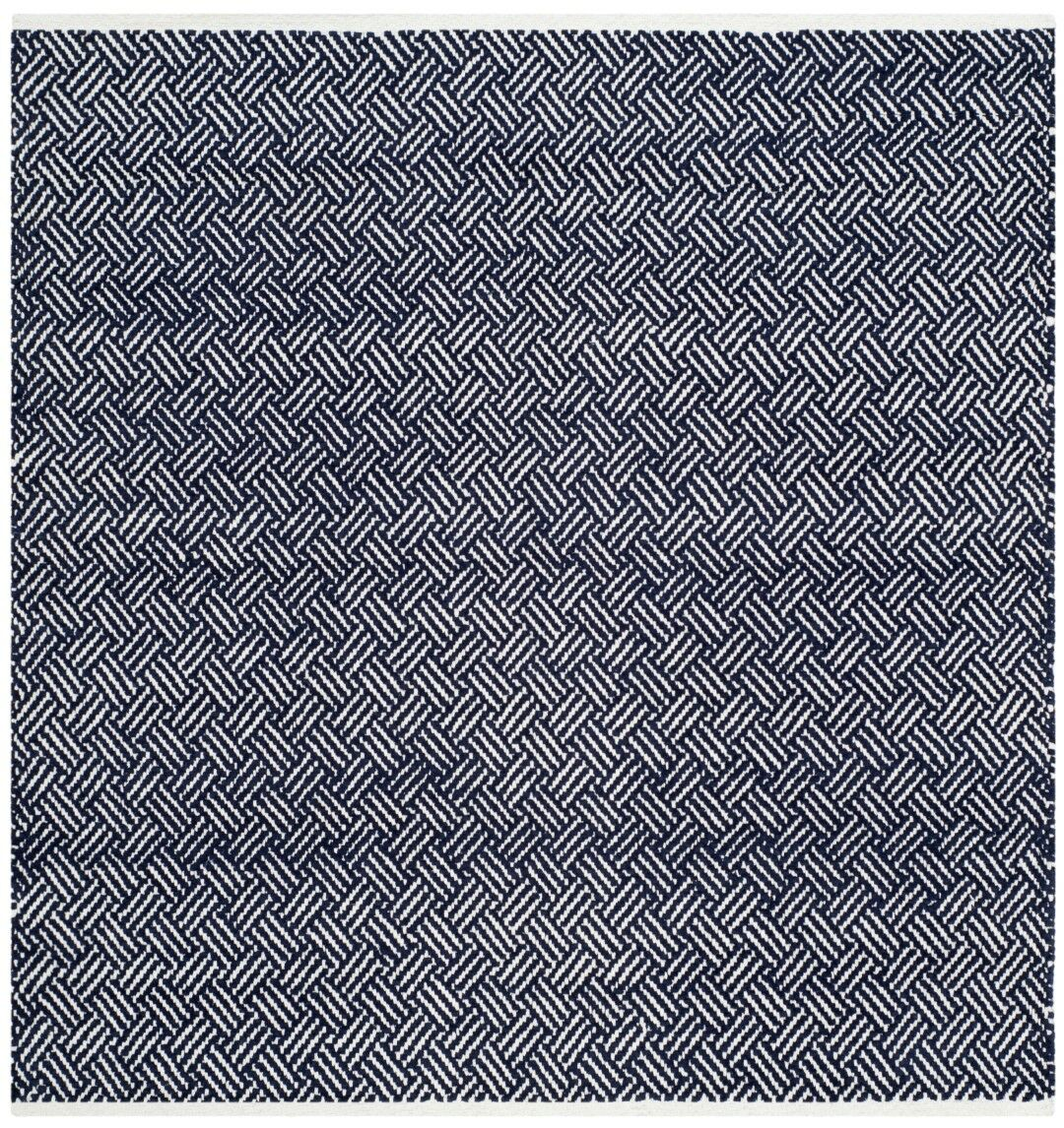 Boston Hand-Woven Navy Area Rug Rug Size: Square 4'