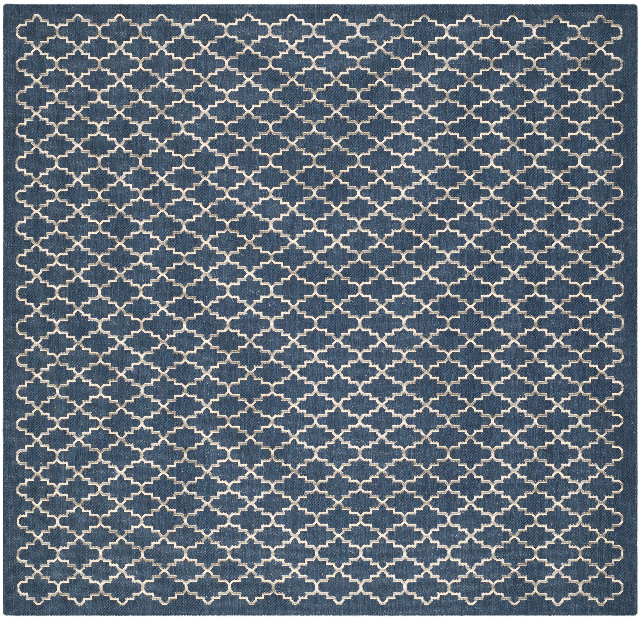 Louisville Navy/Beige Indoor/Outdoor Area Rug Rug Size: Square 4'