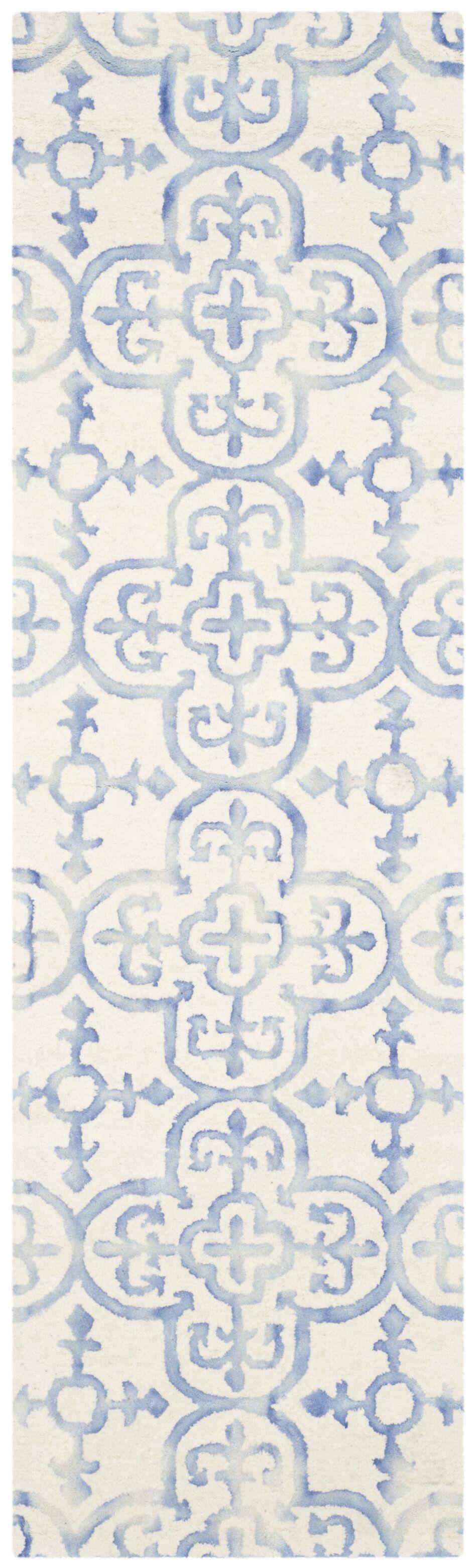 Carter Hand-Tufted Ivory/Blue Area Rug Rug Size: Runner 2'3