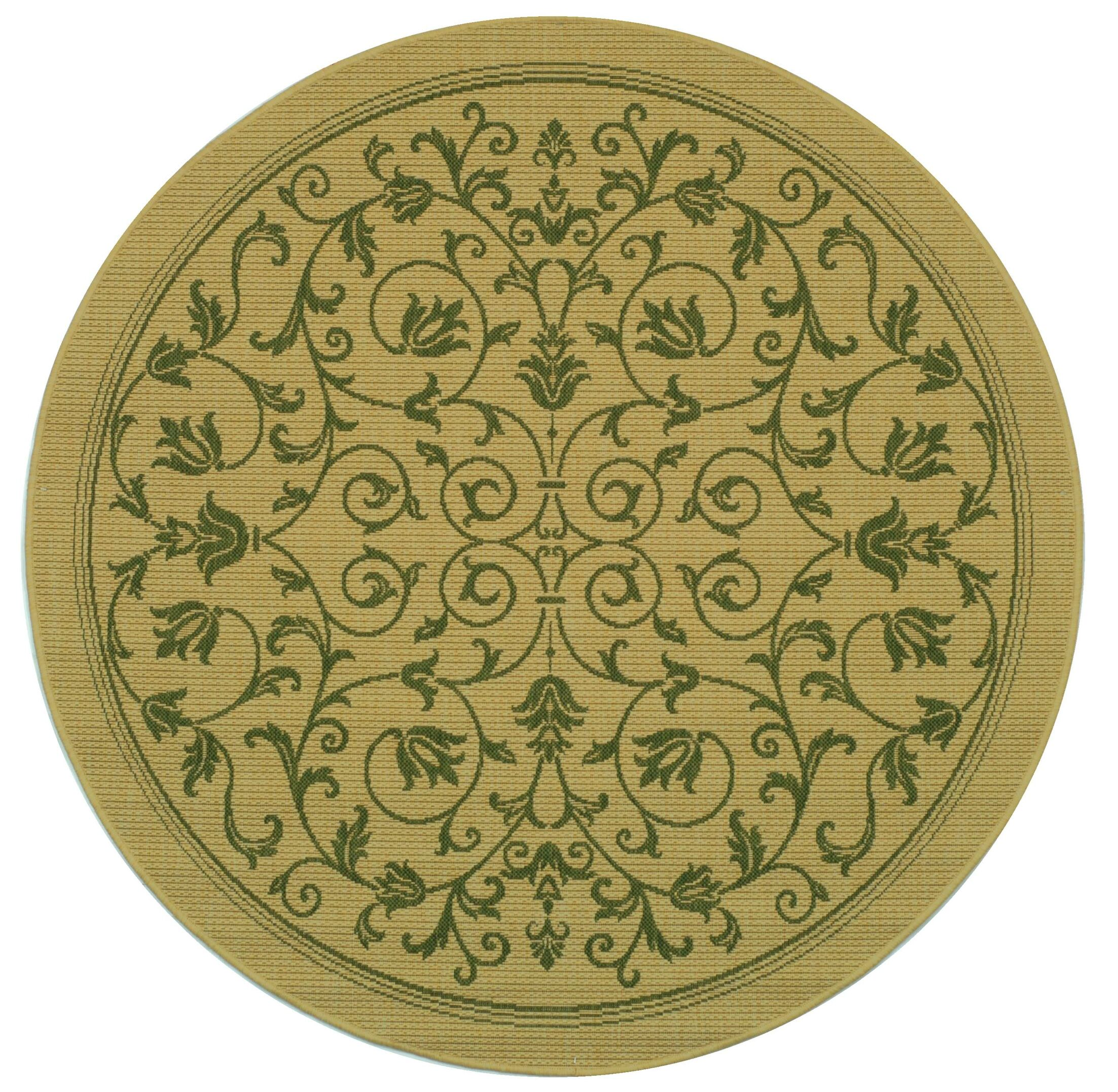 Bexton White Ivory / Green Outdoor Area Rug Rug Size: Round 5'3