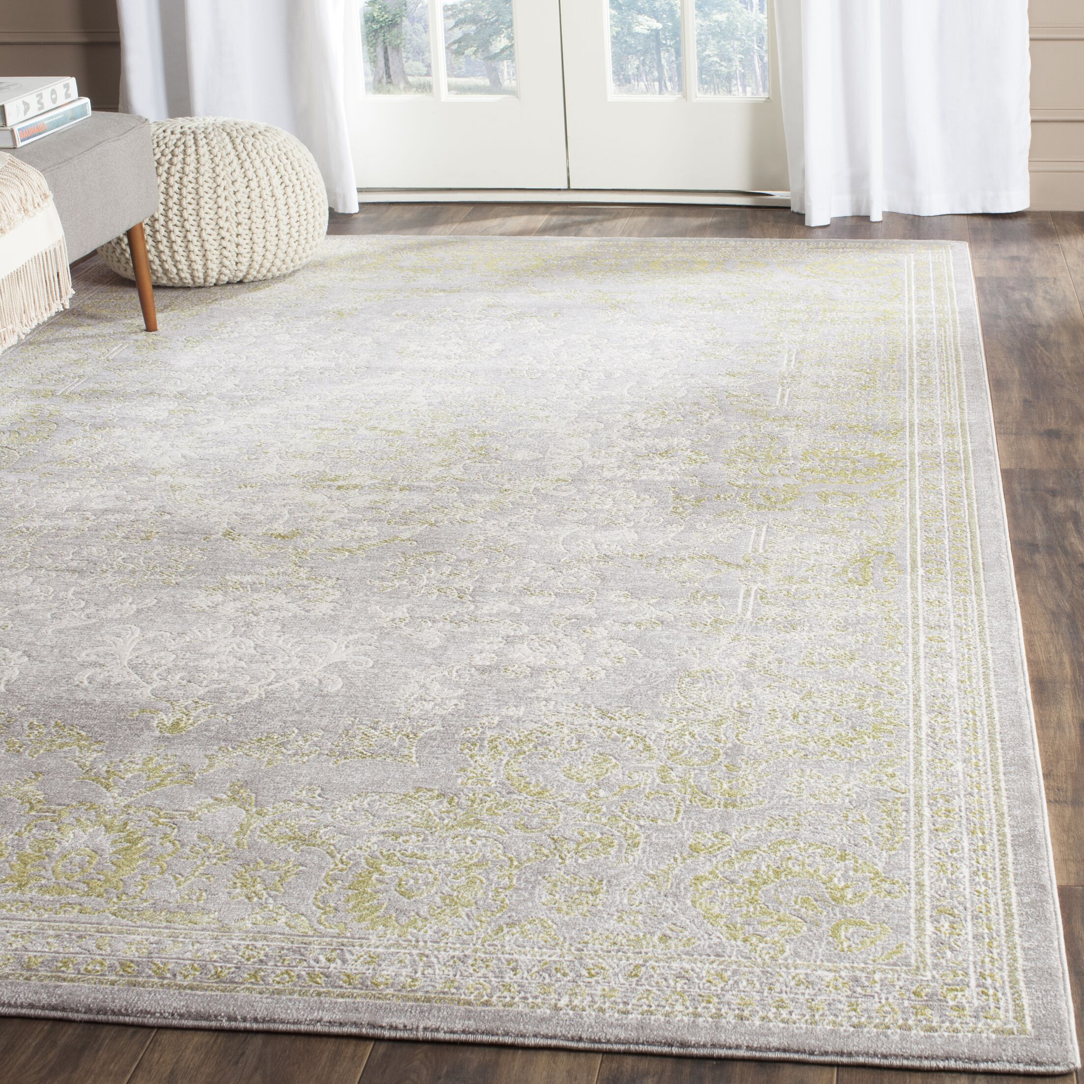 Auguste Gray/Green Area Rug Rug Size: Rectangle 2'2