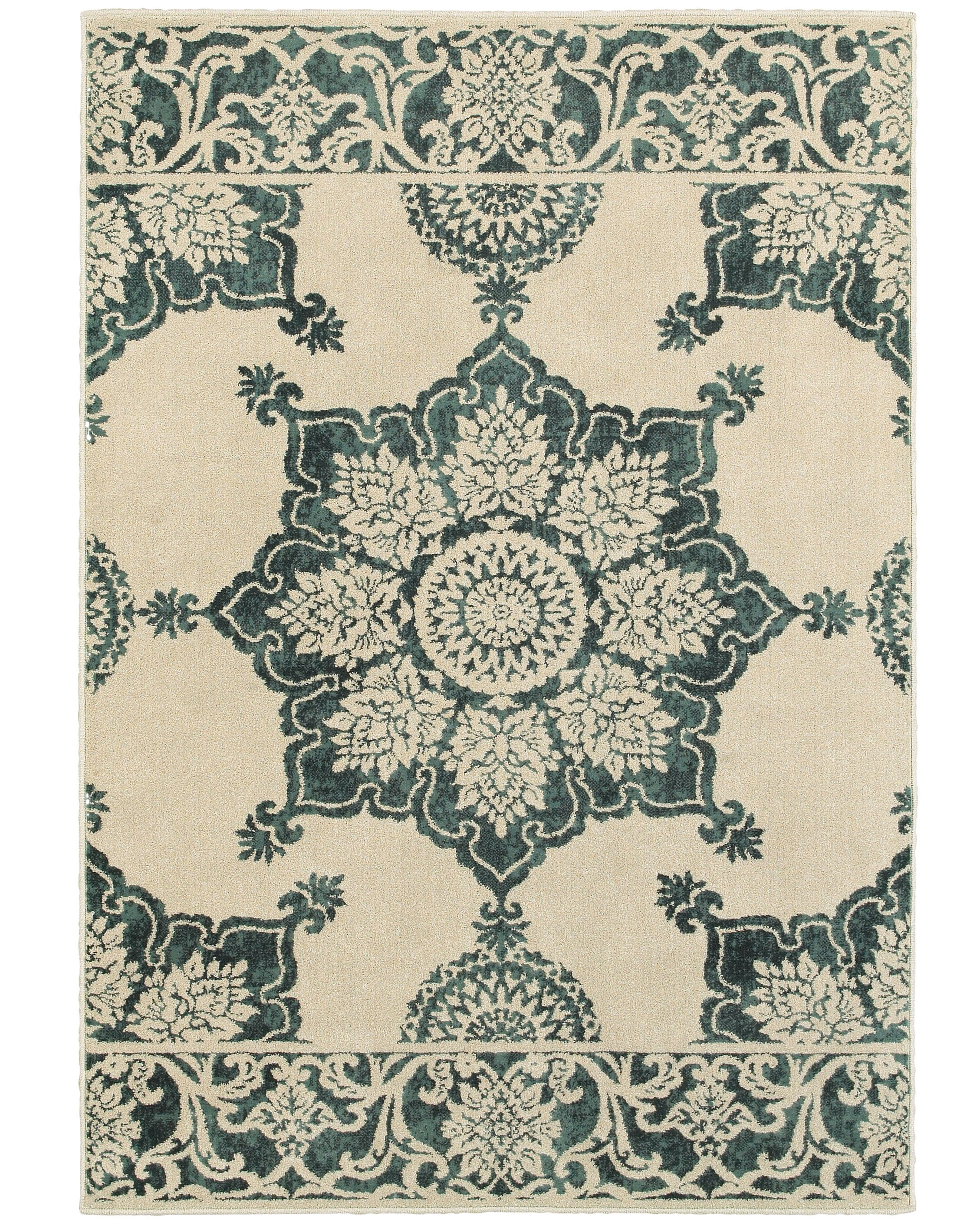 Ravenwood Beige/Green Area Rug Rug Size: Rectangle 9'10