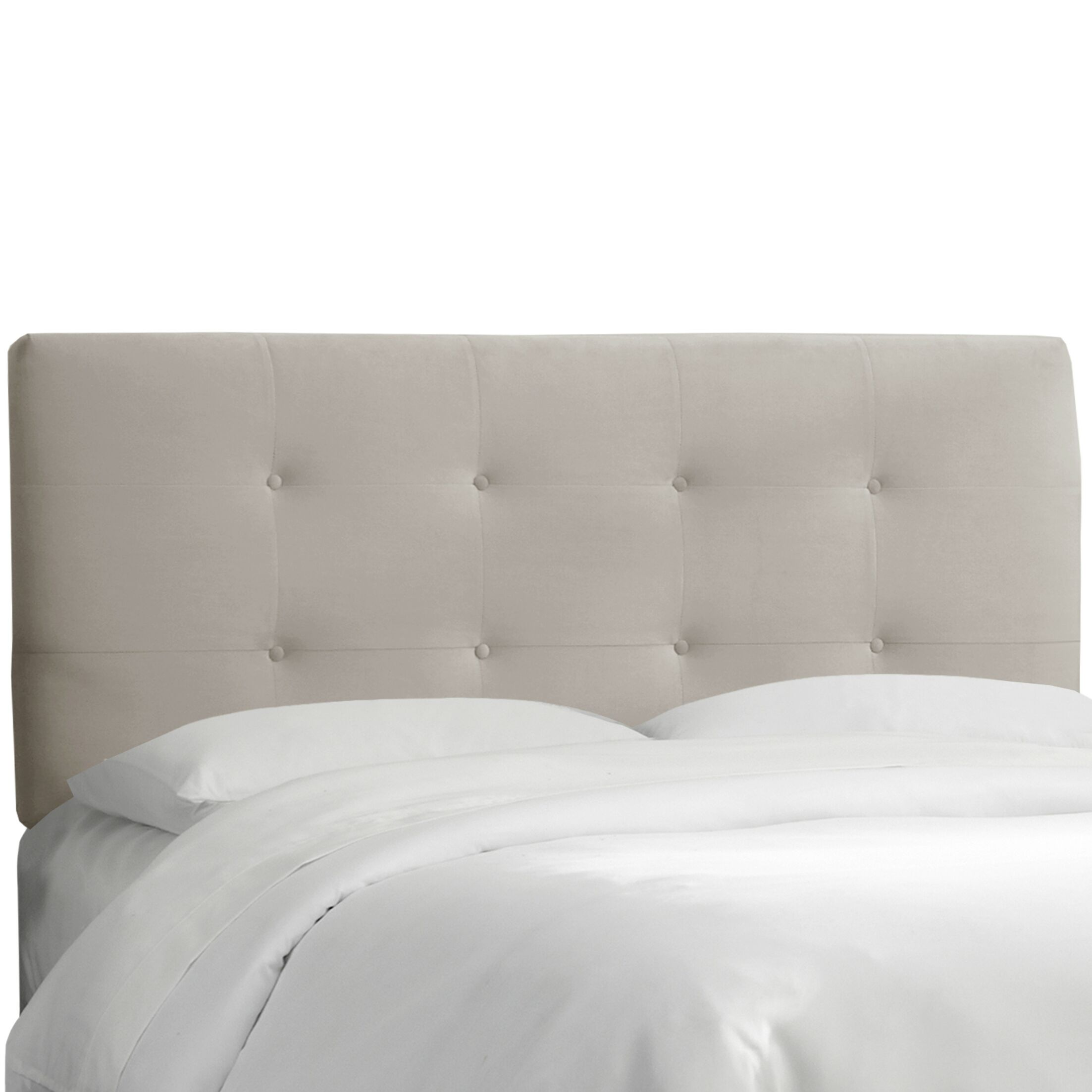 Lenora Button Upholstered Panel Headboard Size: California King, Color: Light Grey
