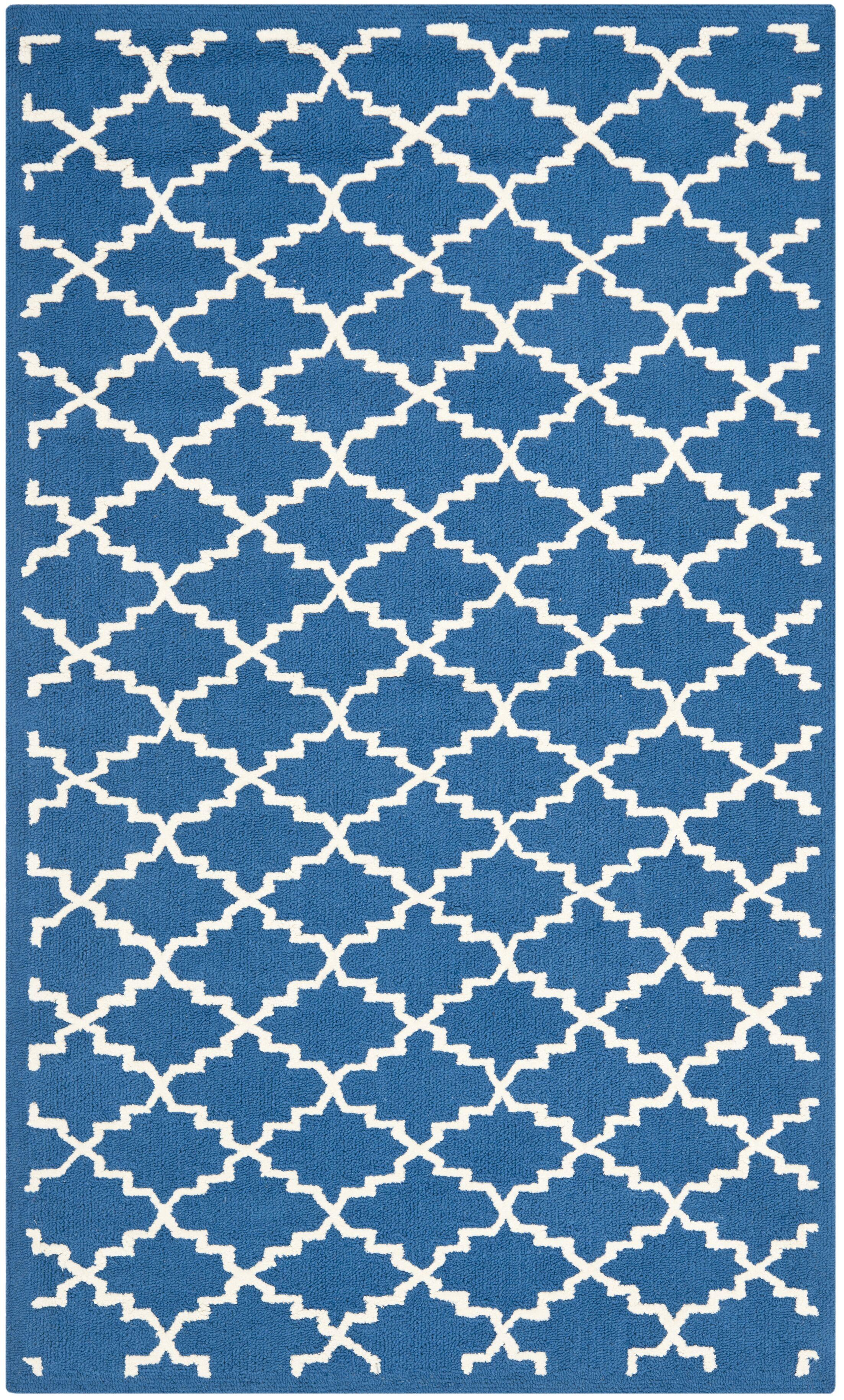 Fullerton Hand-Hooked Cotton Indigo/Ivory Area Rug Rug Size: Rectangle 3'9
