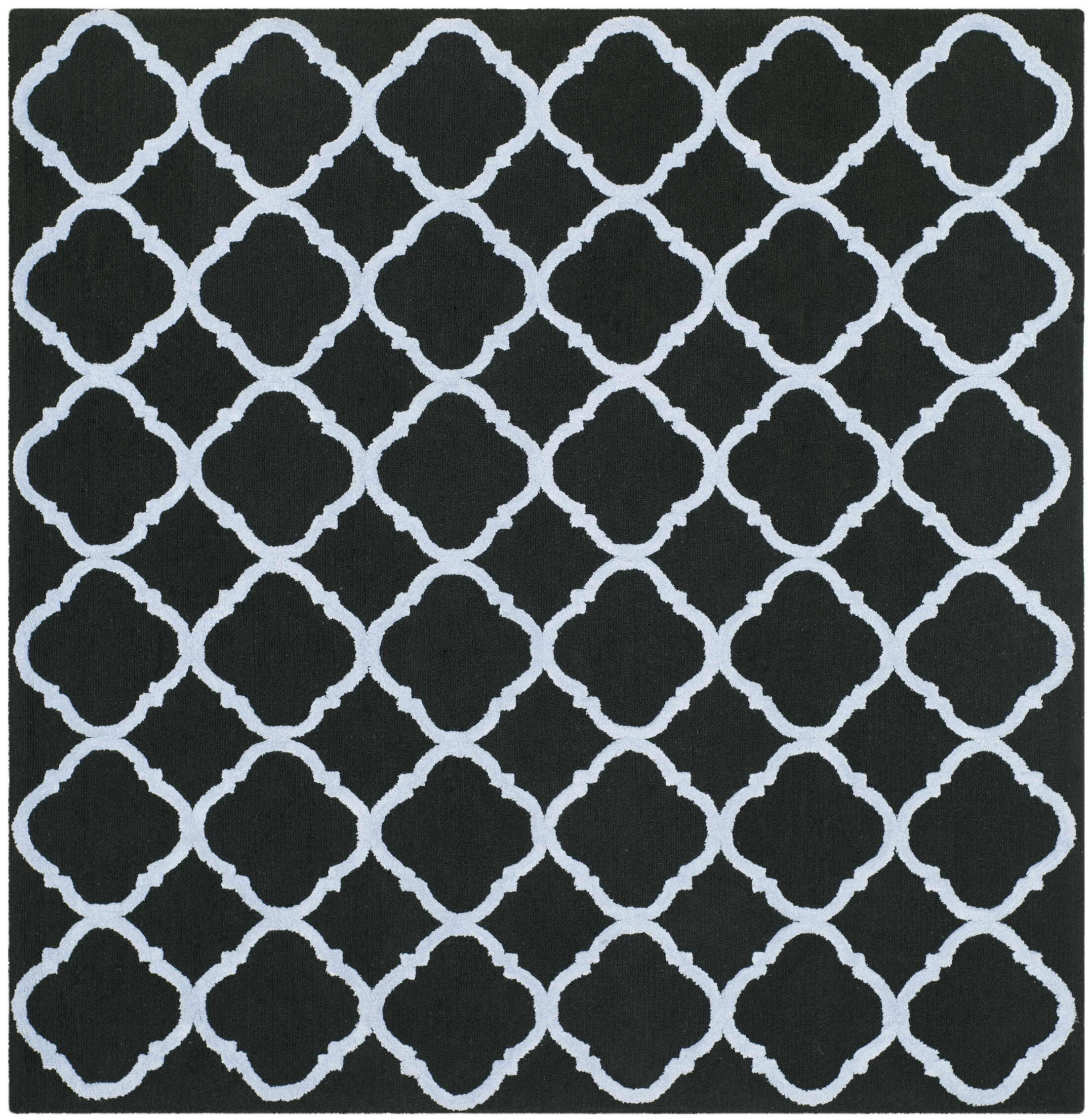 Fullerton Black/Blue Geometric Area Rug Rug Size: Square 5'