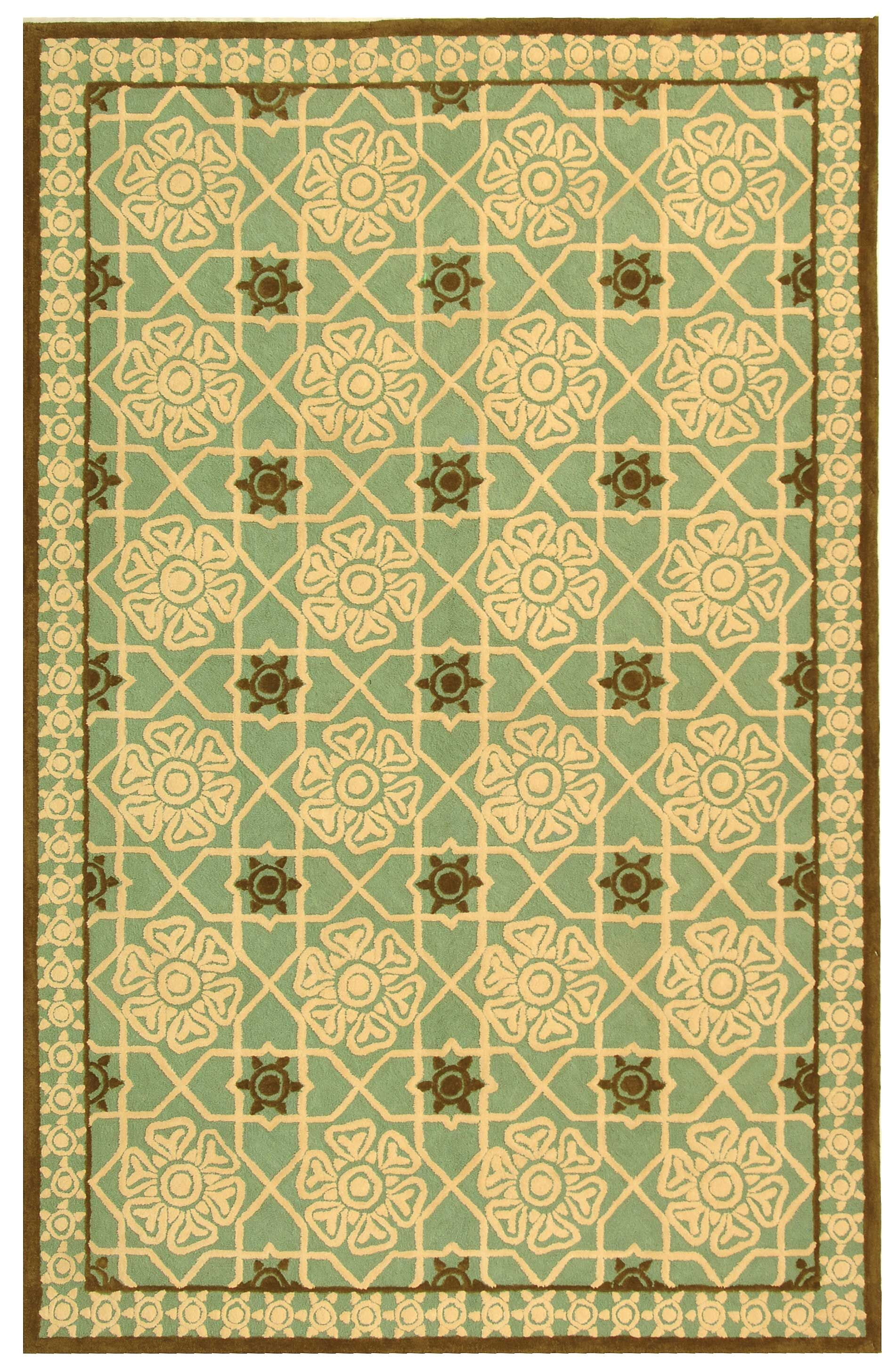 Fullerton Teal/Ivory Geometric Area Rug Rug Size: Rectangle 5'6