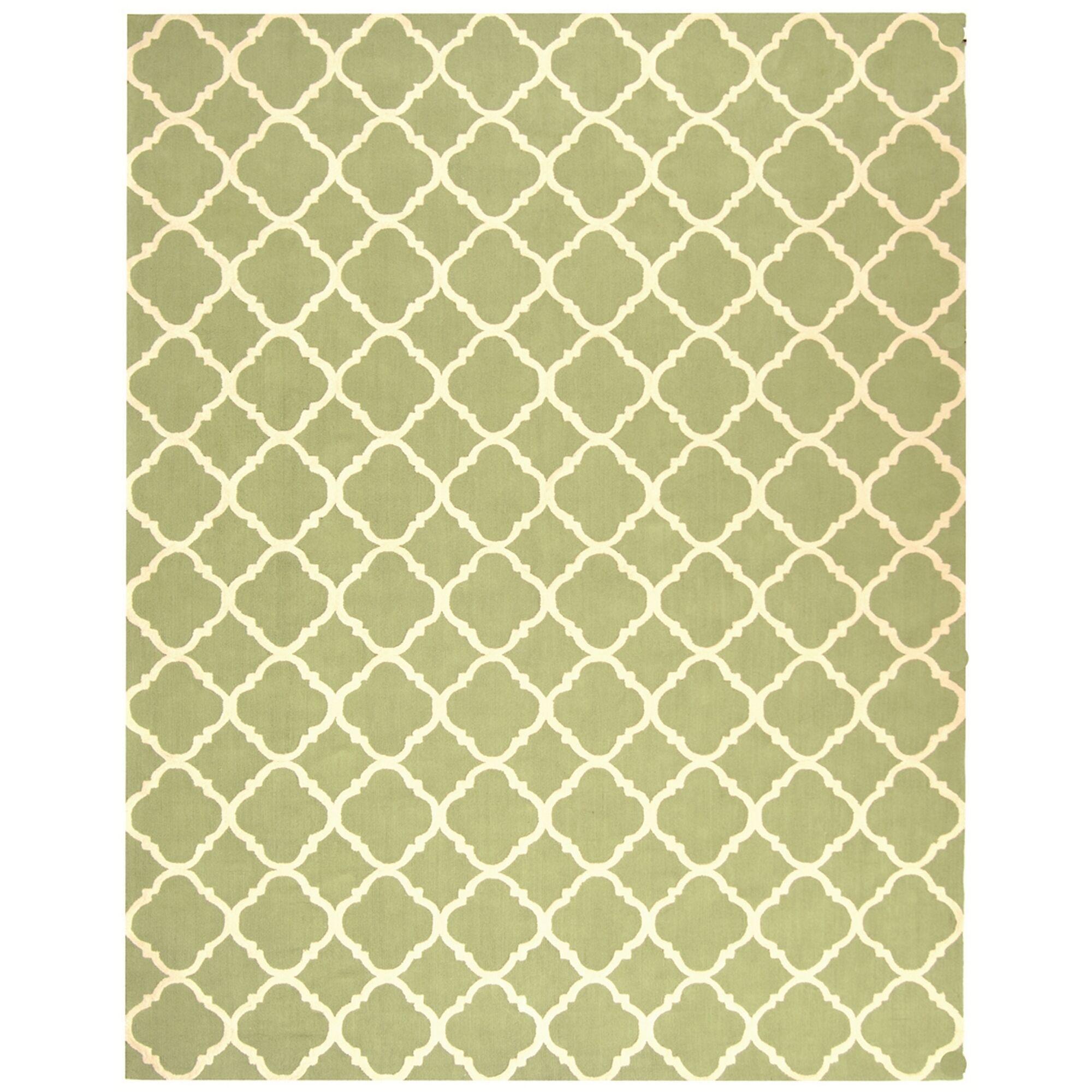 Fullerton Green/Ivory Geometric Area Rug Rug Size: Rectangle 7'9