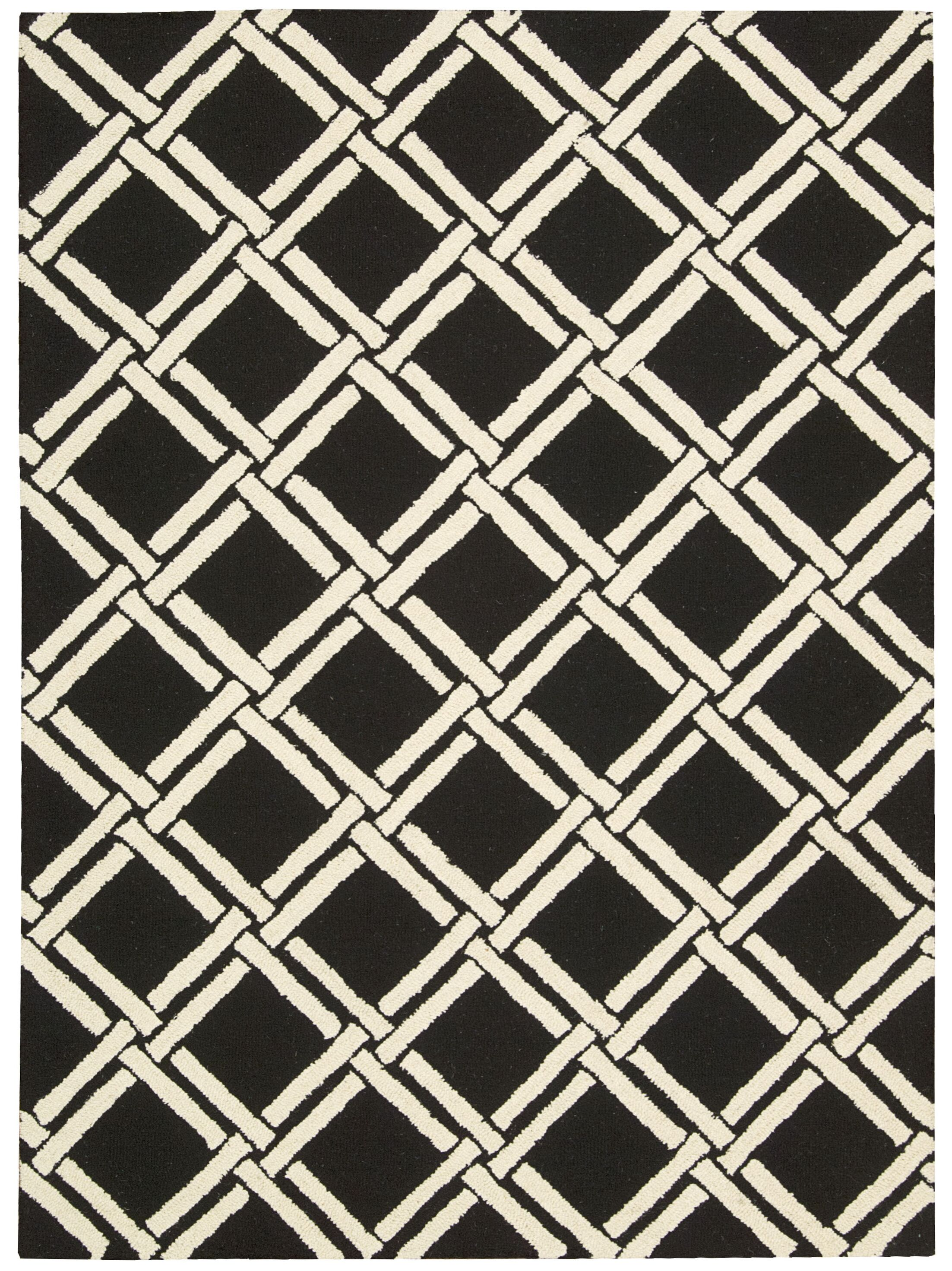 Hulings Hand-Knotted Black/White Area Rug Rug Size: Rectangle 8' x 11'