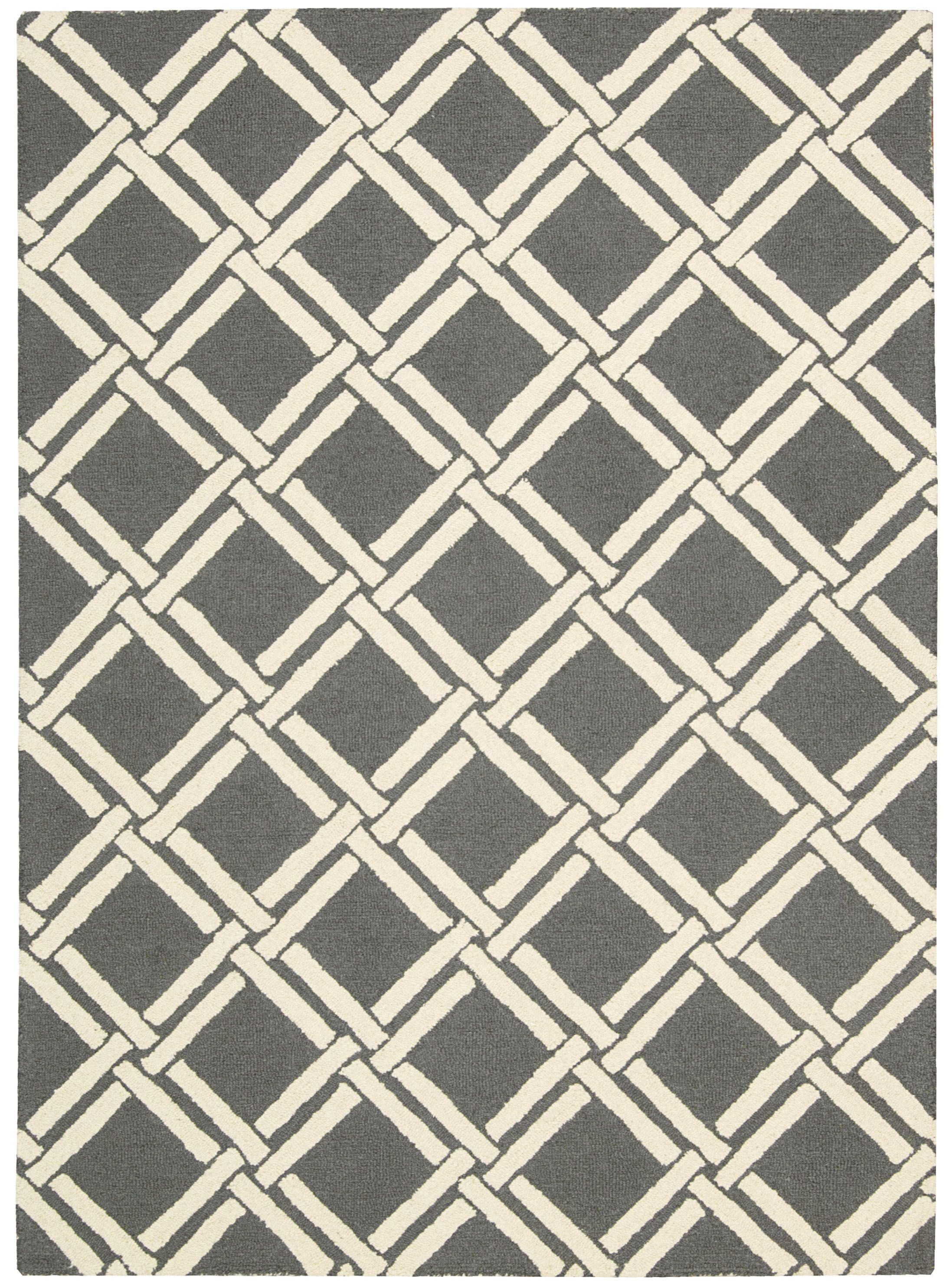 Hulings Hand-Knotted Gray/Ivory Area Rug Rug Size: Rectangle 3'9