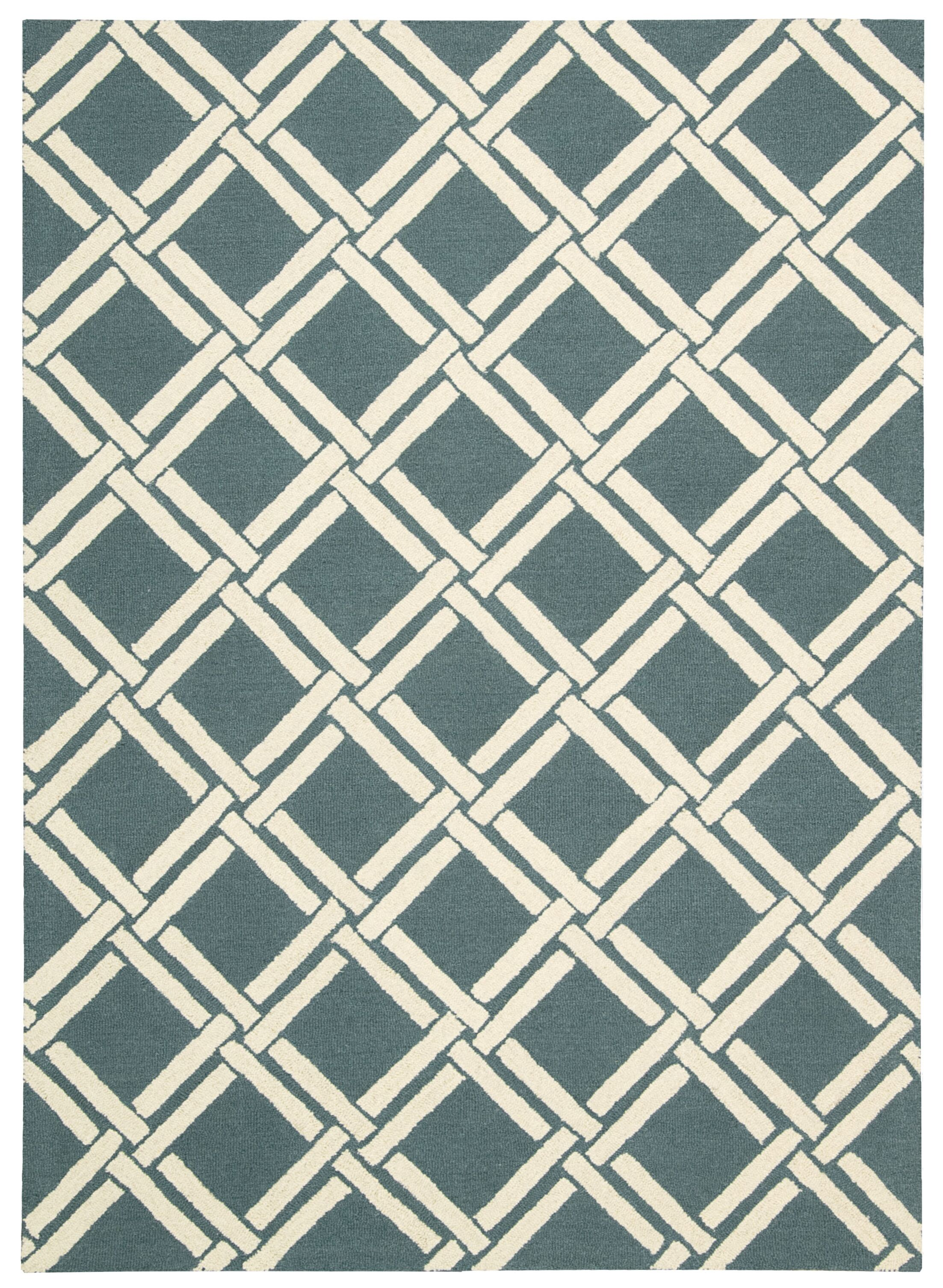 Hulings Hand-Knotted Teal/Ivory Area Rug Rug Size: Rectangle 7'6