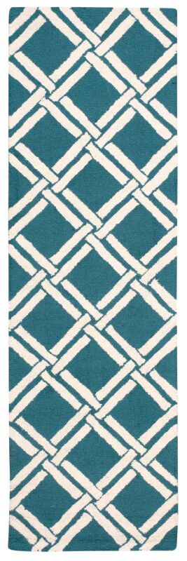 Hulings Hand-Knotted Teal/Ivory Area Rug Rug Size: Runner 2'3