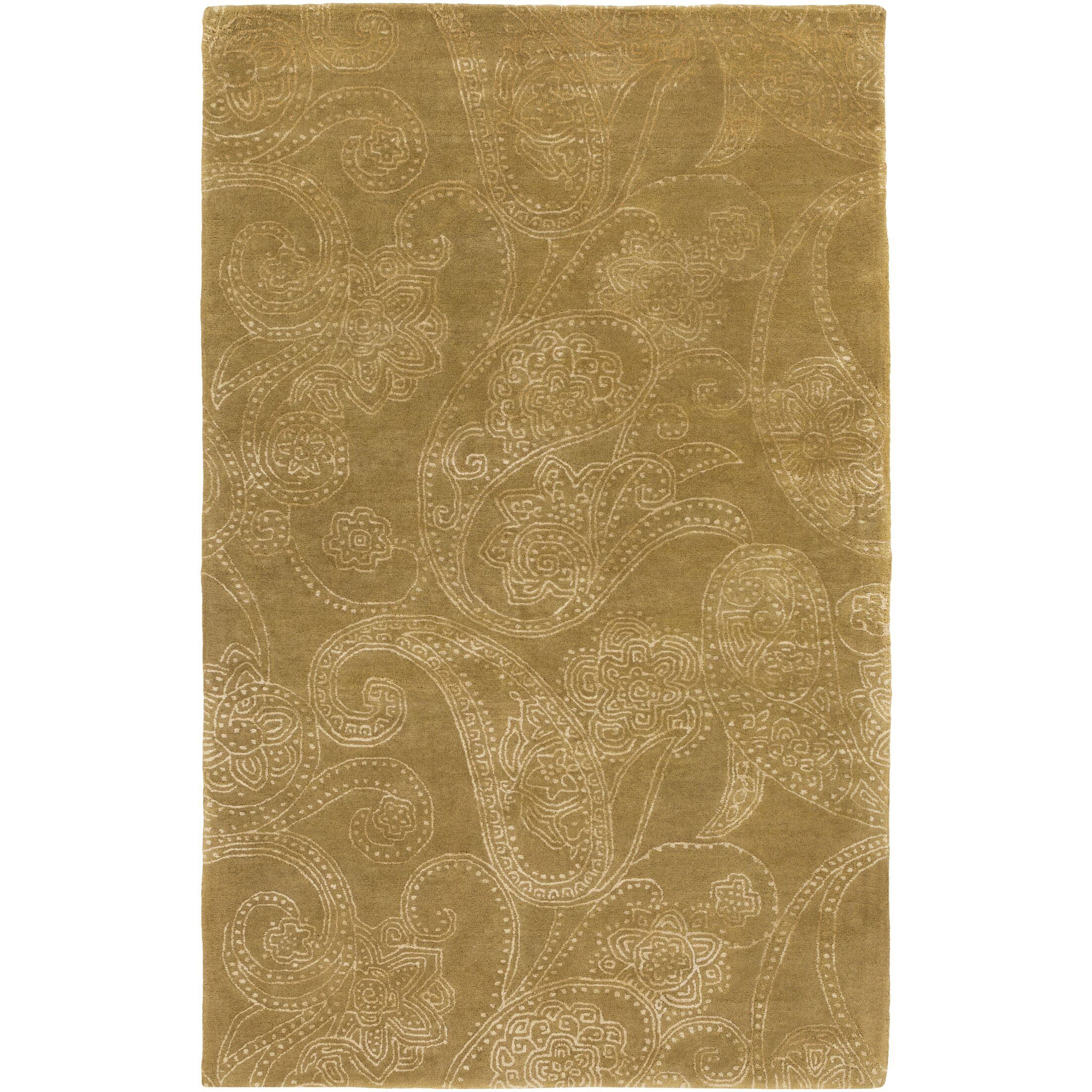 Laurita Hand-Tufted Tan/White Area Rug Rug Size: Rectangle 5' x 8'