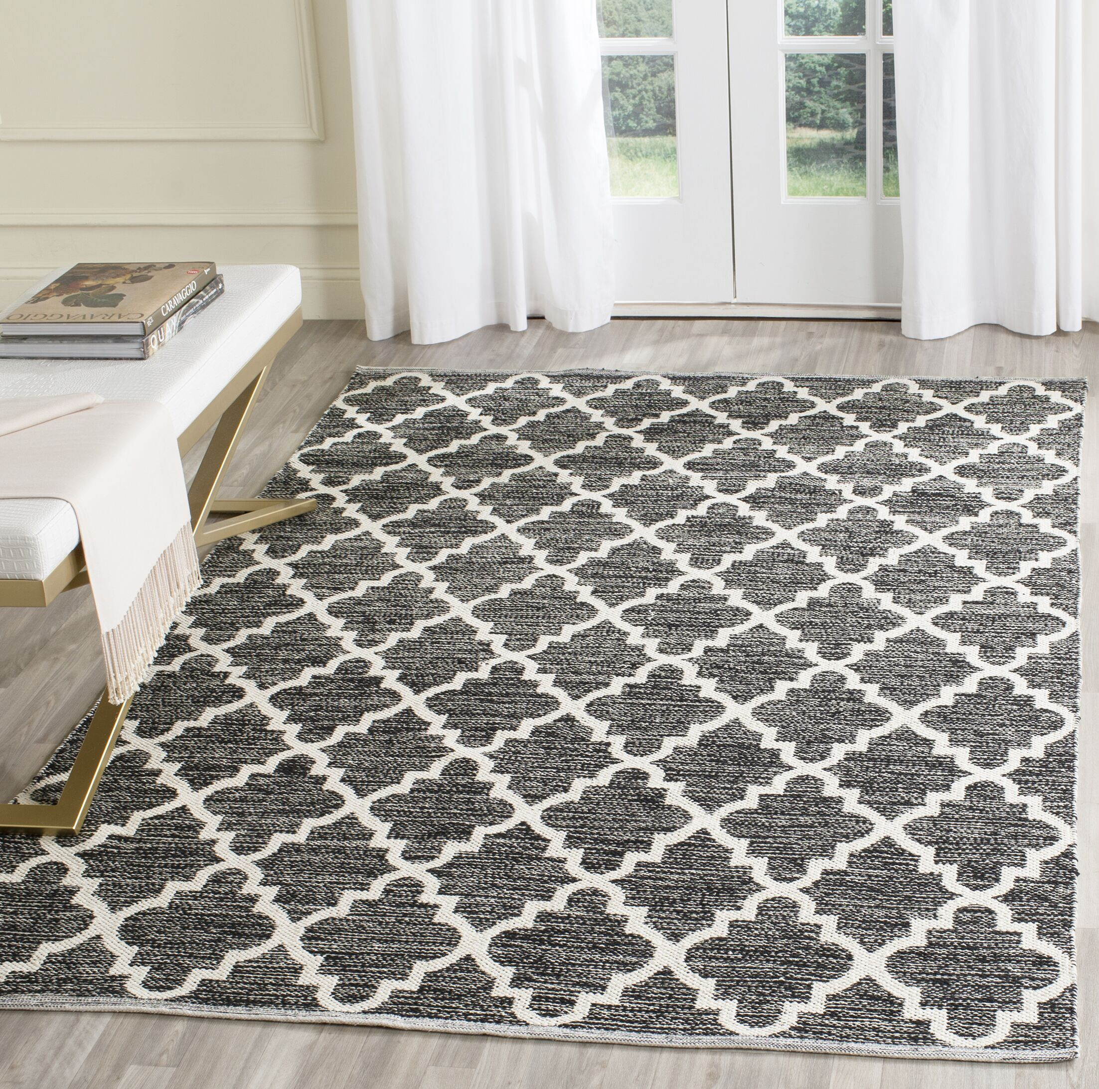 Valley Hand-Woven Black/Ivory Area Rug Rug Size: Rectangle 11' x 15'