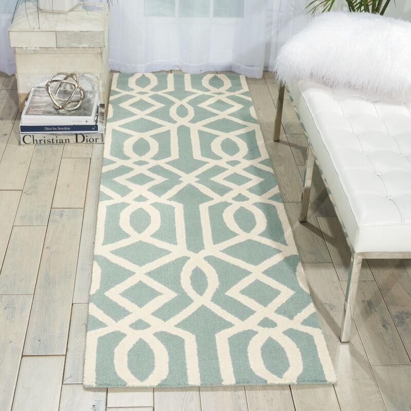 Addingrove Hand-Knotted Aqua/Ivory Area Rug Rug Size: Runner 2'3