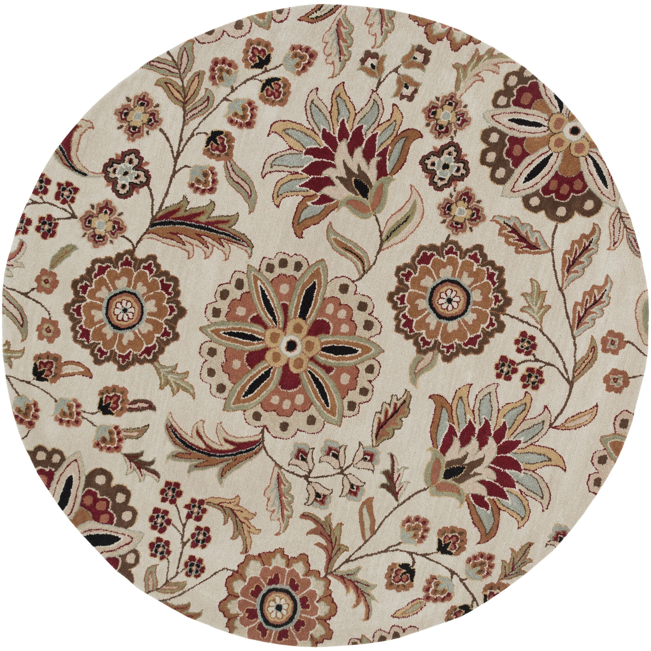 Jasmine Parchment Tufted Wool Area Rug Rug Size: Round 6'
