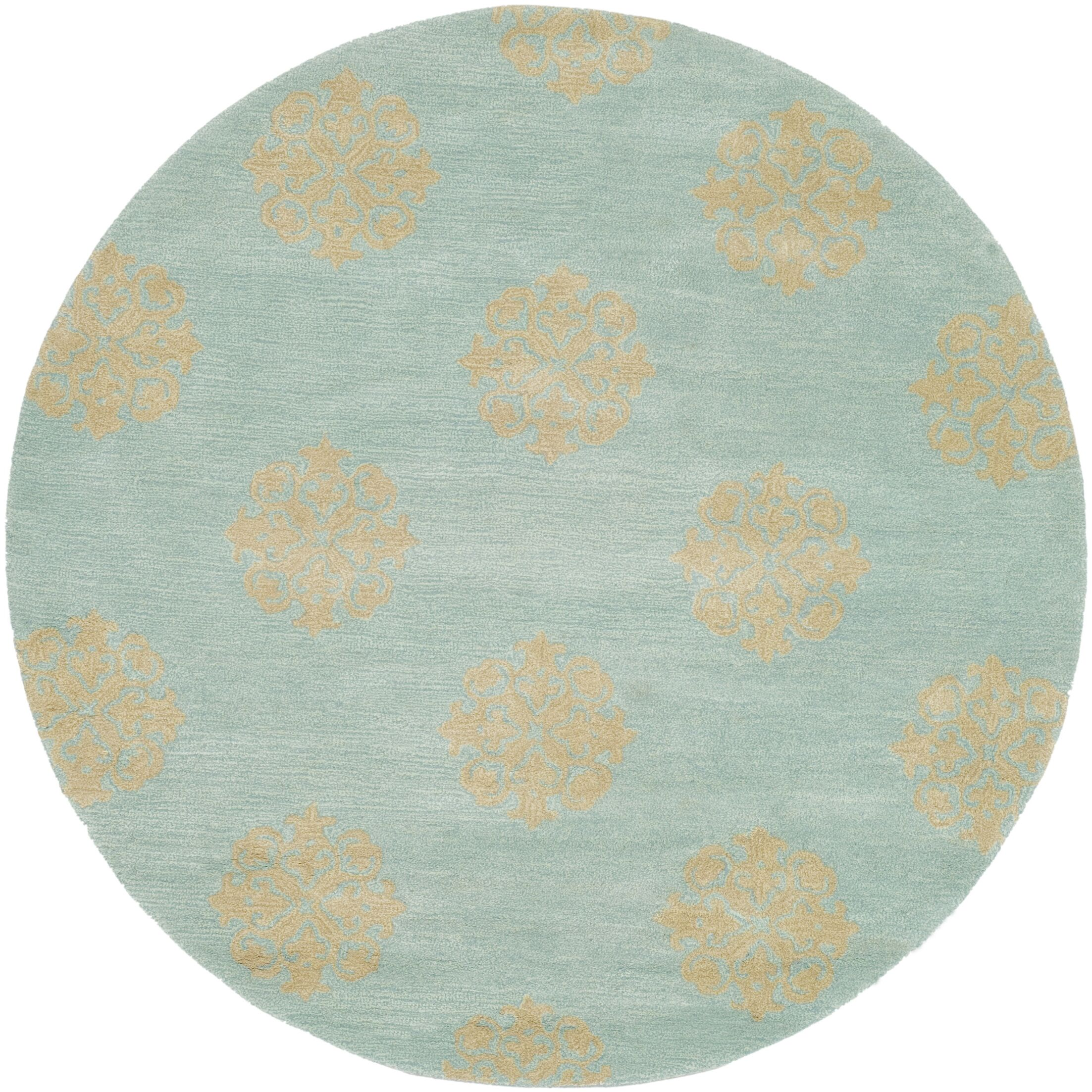 Backstrom Hand-Tufted Turquoise Area Rug Rug Size: Round 8'