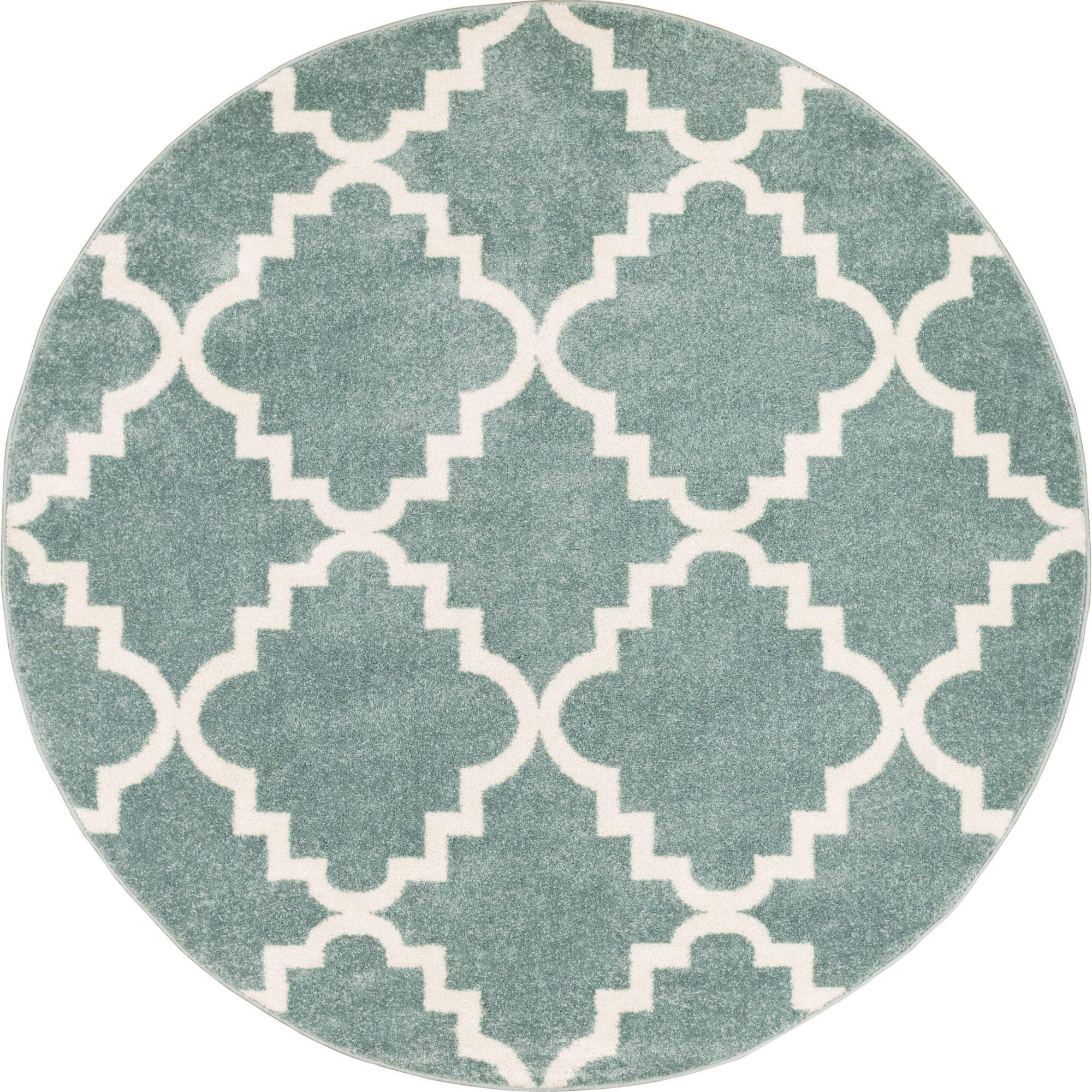 Ozzie Lattice Light Blue Area Rug Rug Size: Round 5'3
