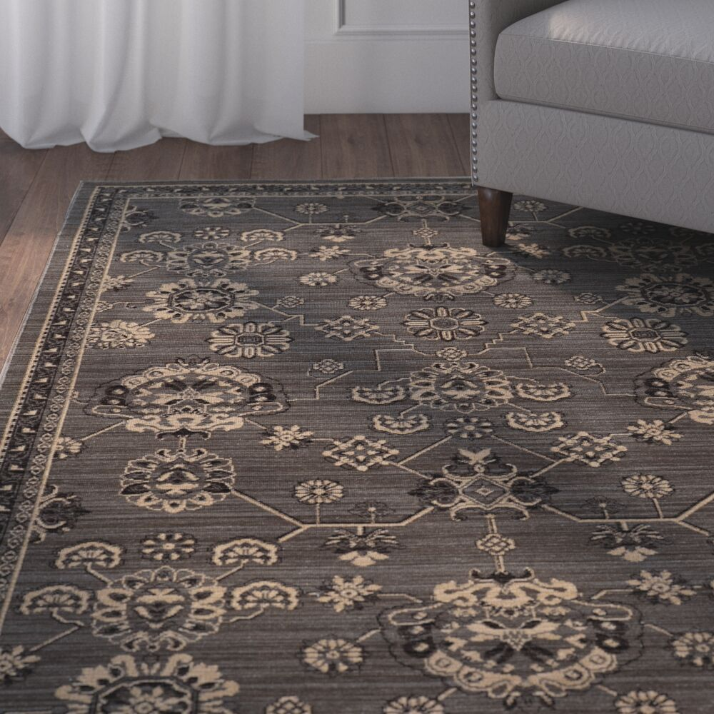 Douglassville Oriental Gray Area Rug Rug Size: Rectangle 1'1 x 3'3