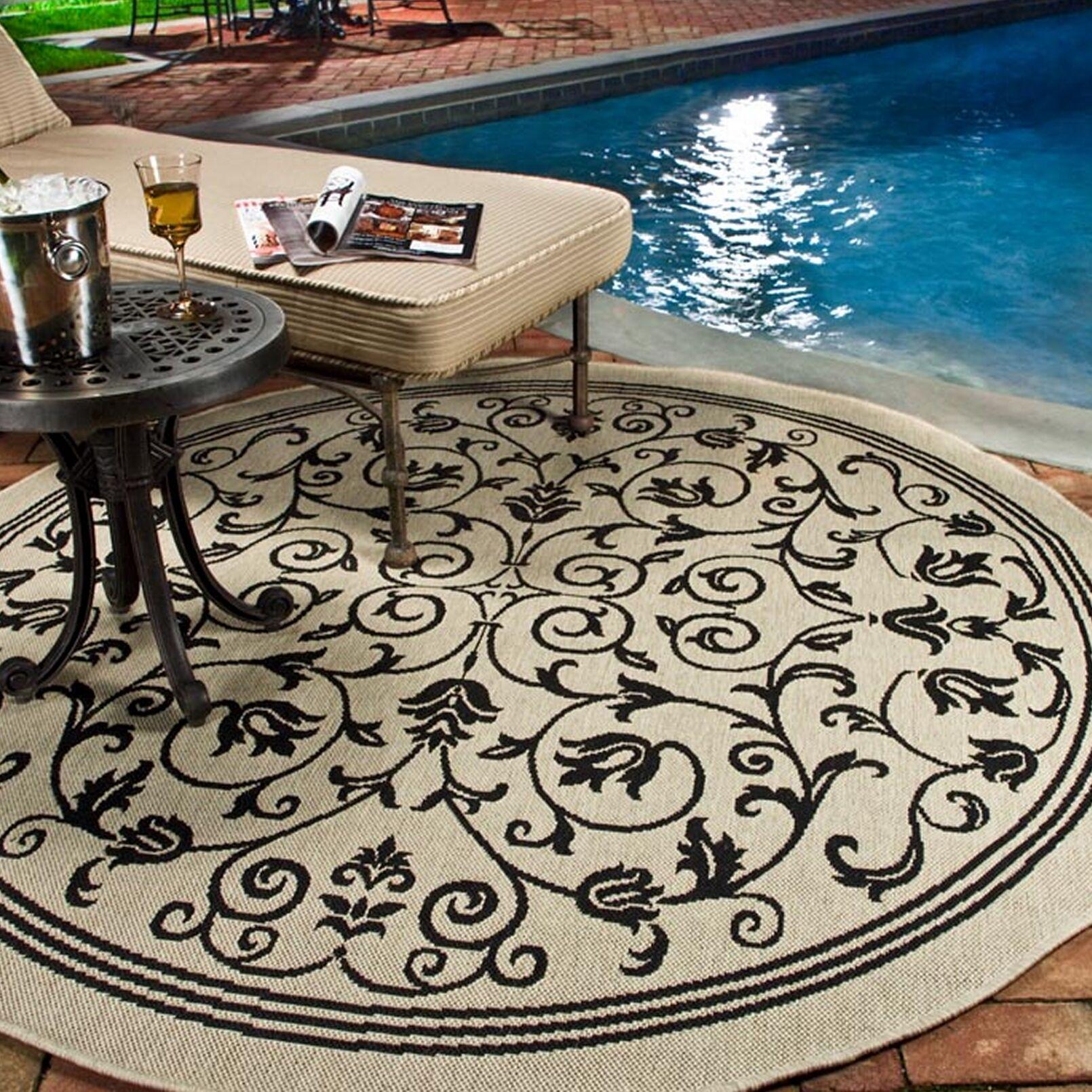Bexton Gray Outdoor/Indoor Area Rug Rug Size: Round 6'7