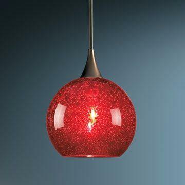Carvalho 1-Light Globe Pendant Finish: Bronze, Canopy/Bulb Type: No Canopy/LED, Glass Color: Red