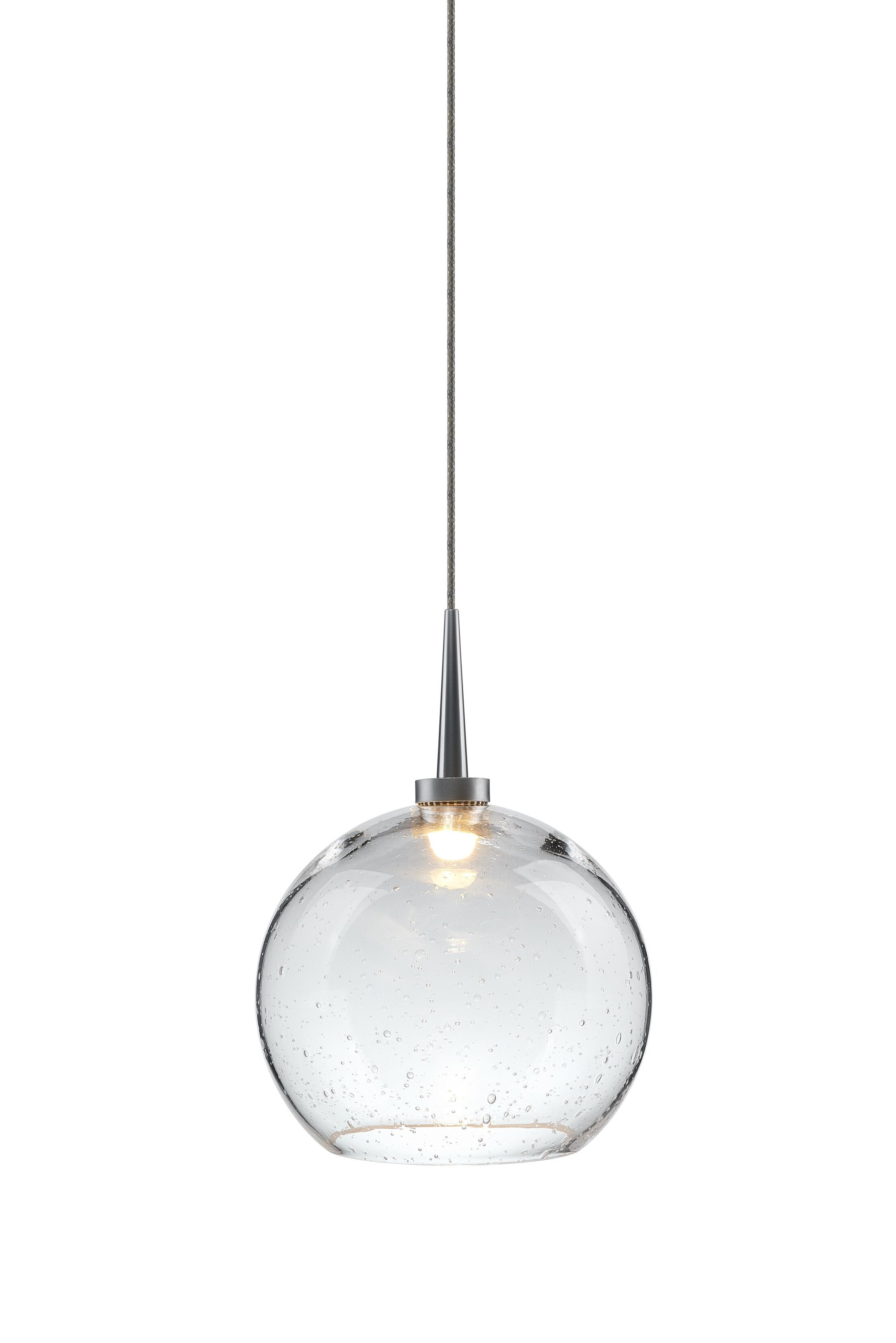 Carvalho 1-Light Globe Pendant Shade Color: Clear, Finish: Matte Chrome