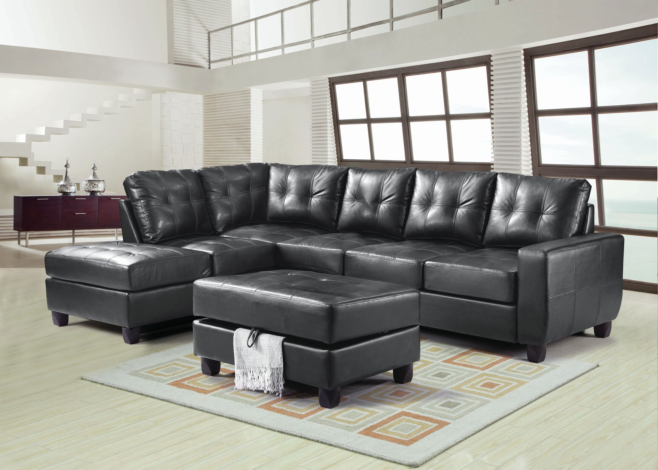 Muttontown Reversible Sectional Upholstery: Black