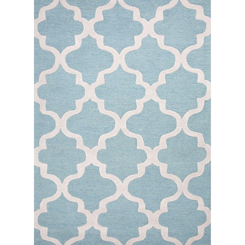 Felix Hand-Tufted Wool Blue/Ivory Area Rug Rug Size: Rectangle 3'6