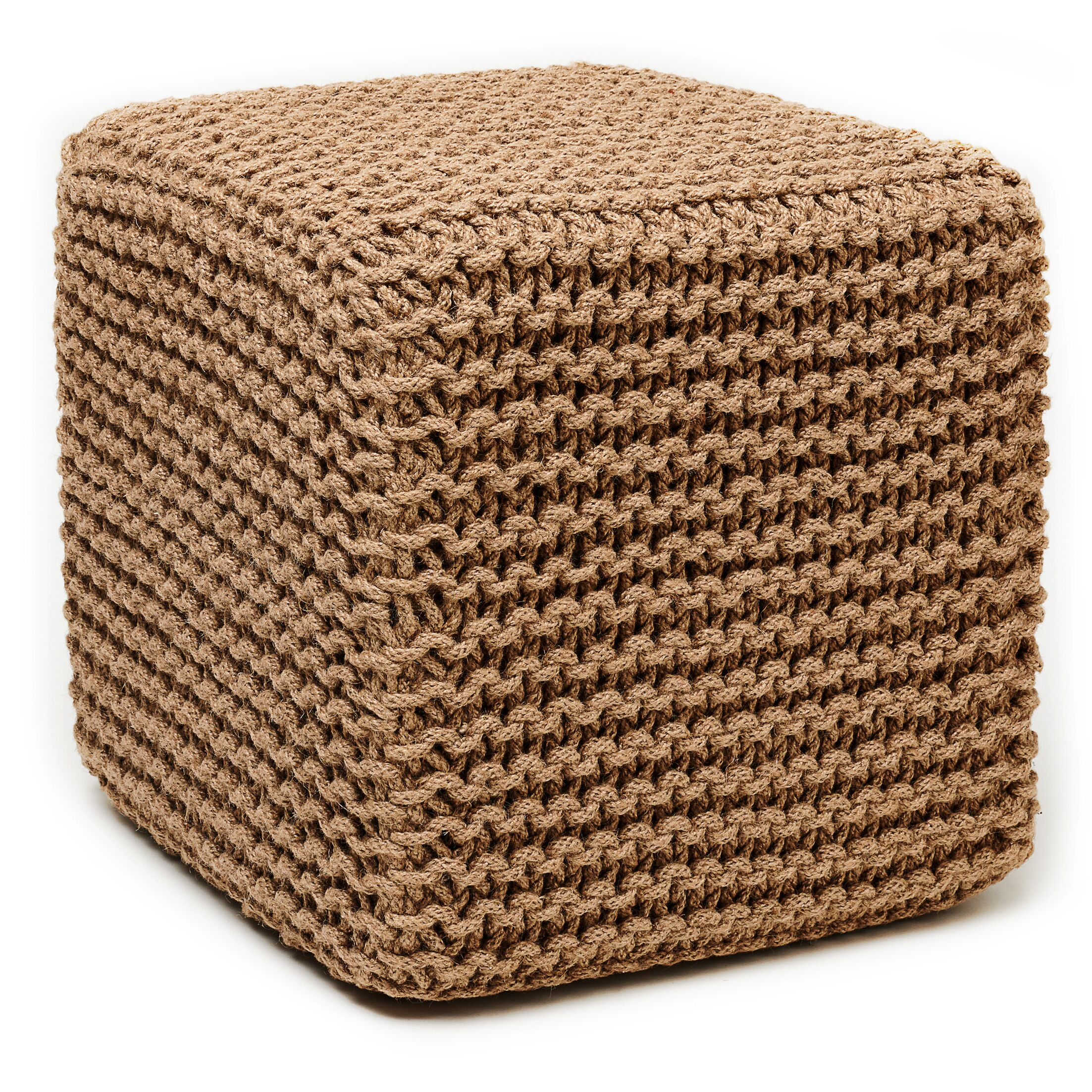 Laflin Corded Pouf Upholstery: Natural