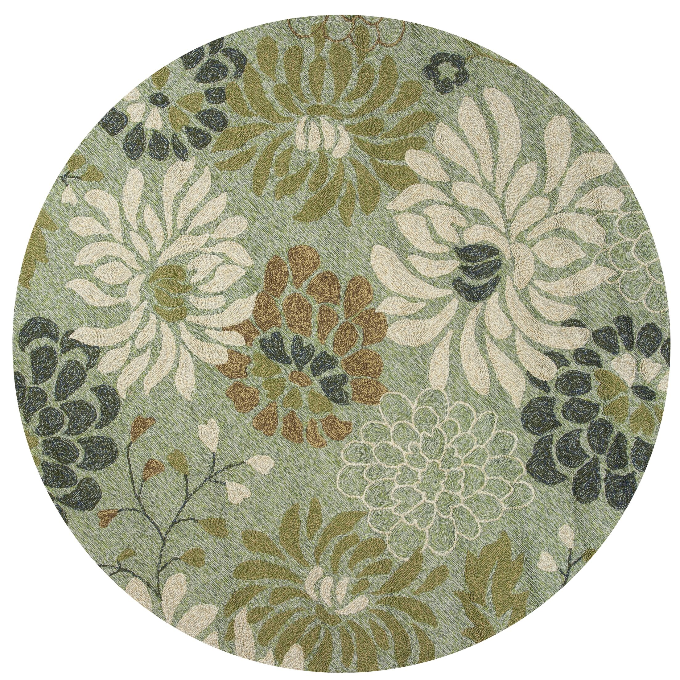 Winsford Seafoam Silhouette Indoor/Outdoor Area Rug Rug Size: Round 7'6