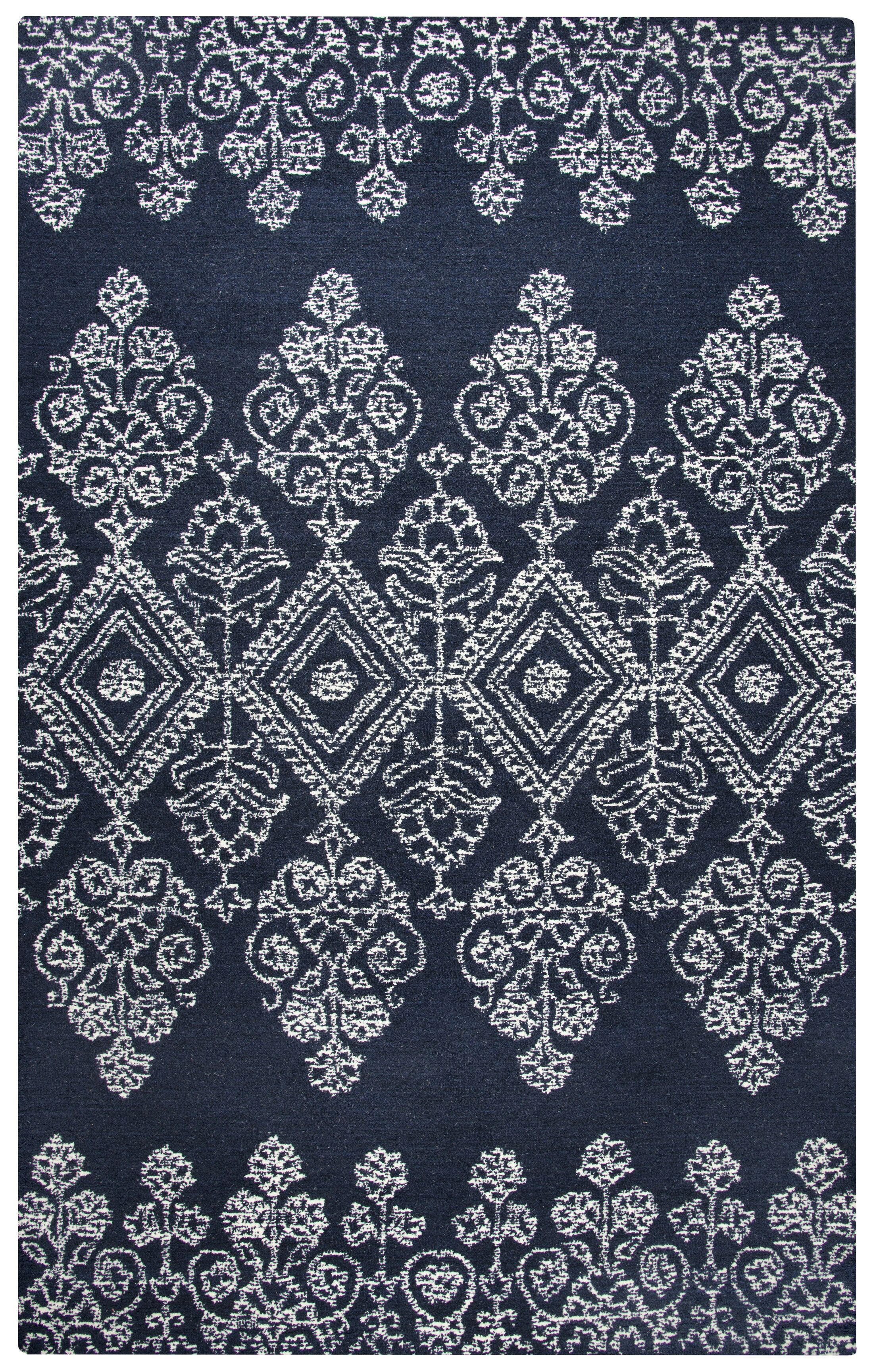Avoca Hand-Tufted Ivory/Navy Area Rug Rug Size: Rectangle 9' x 12'