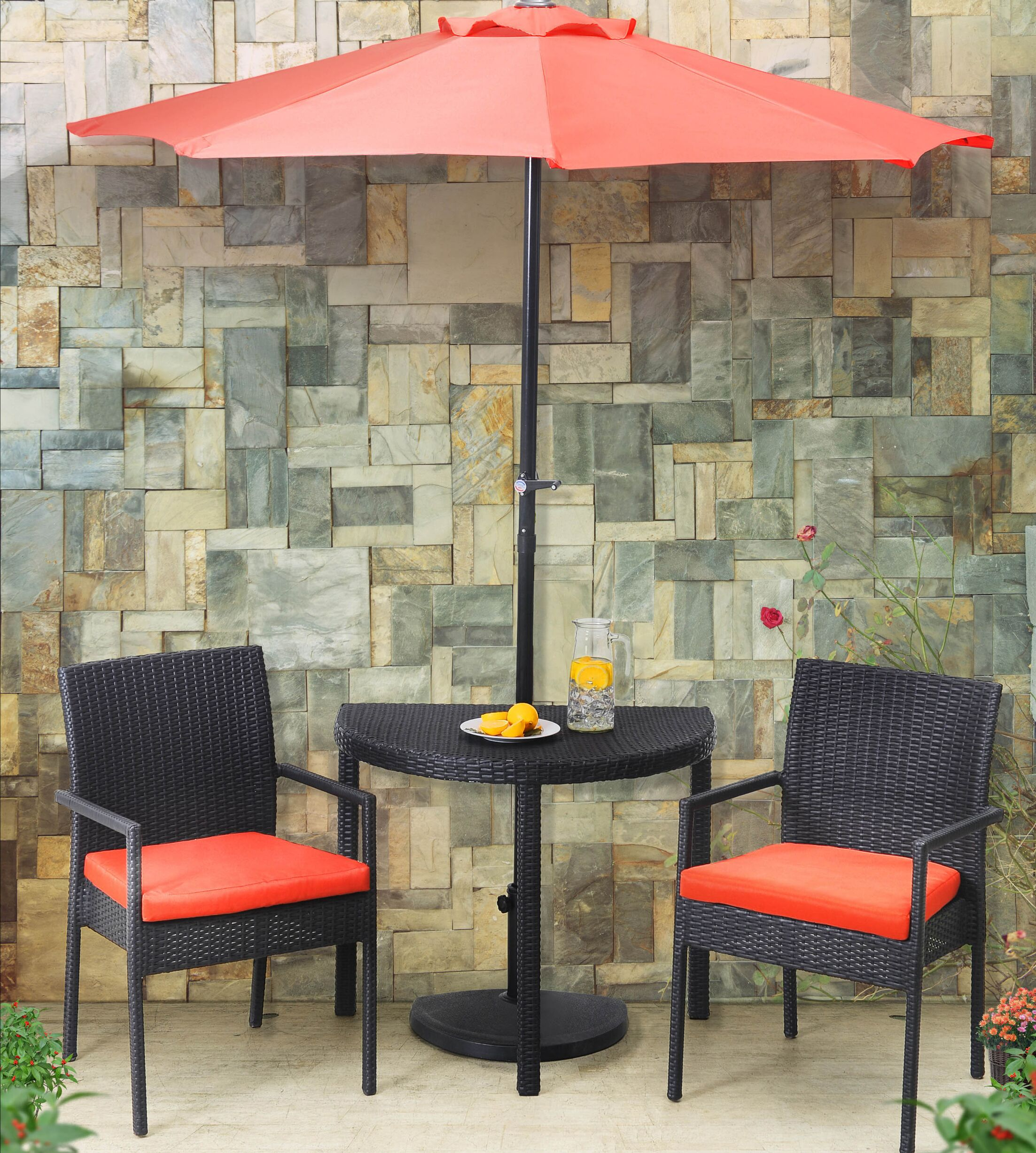 Sibley Balcony 3 Piece Bistro Set with Cushions and Umbrella Cushion Color: Coral