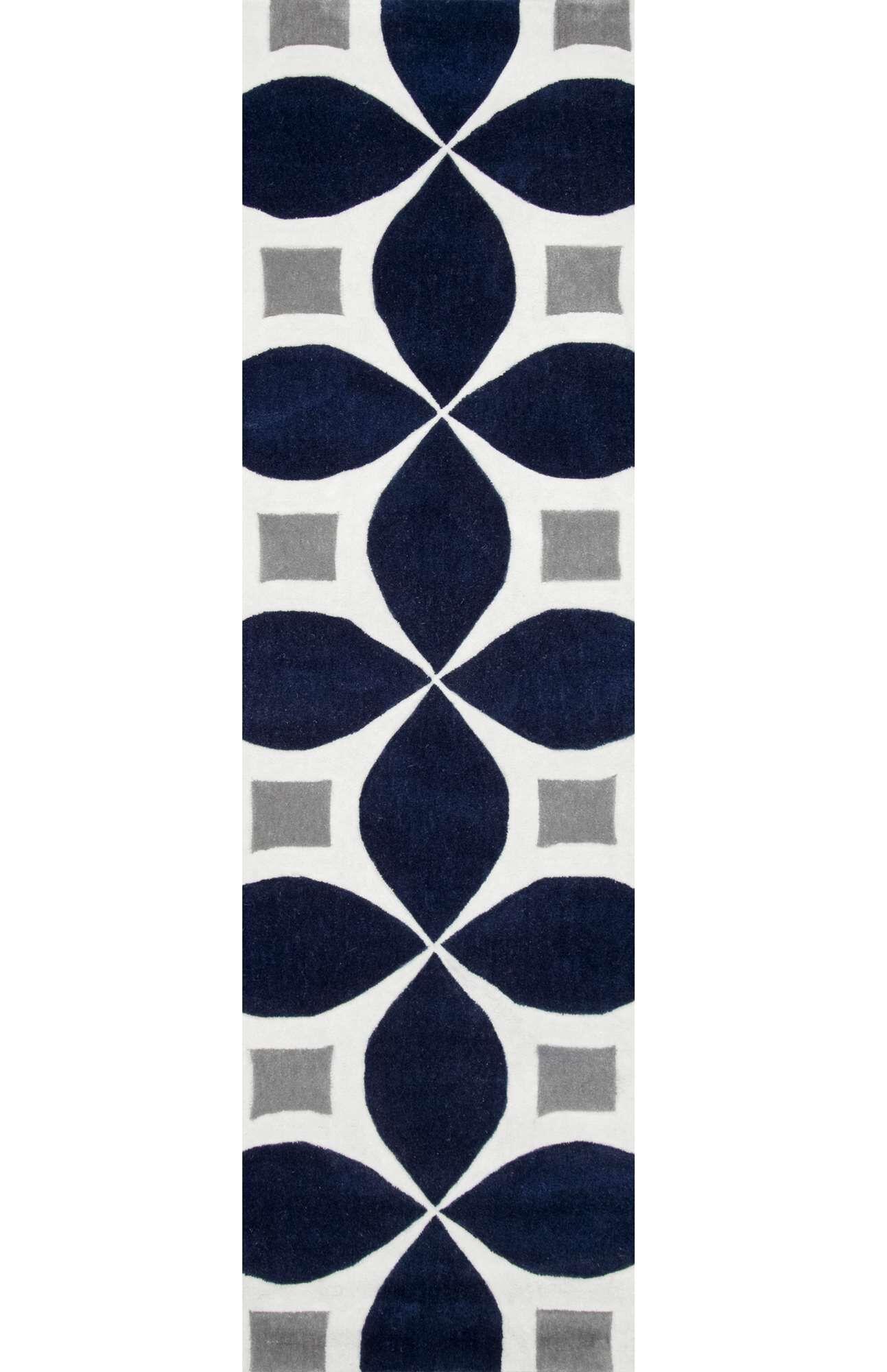 Jamar Handmade Navy Blue/Gray Area Rug Rug Size: Runner 2'6
