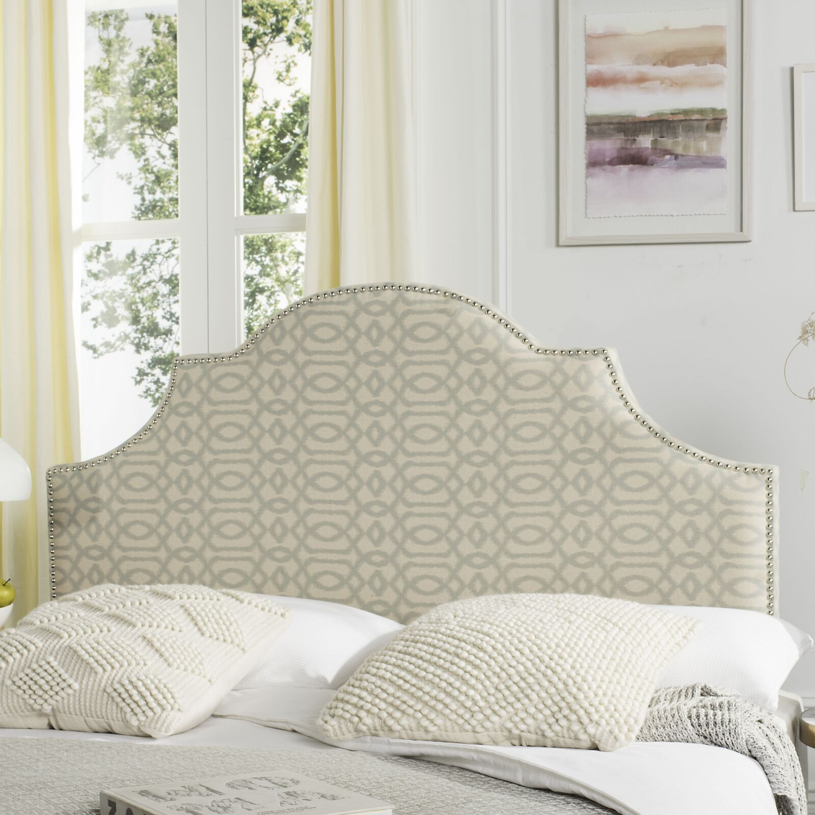 Caswell Upholstered Panel Headboard Nailhead Finish: Silver, Color: Wheat / Pale Blue, Size: Full