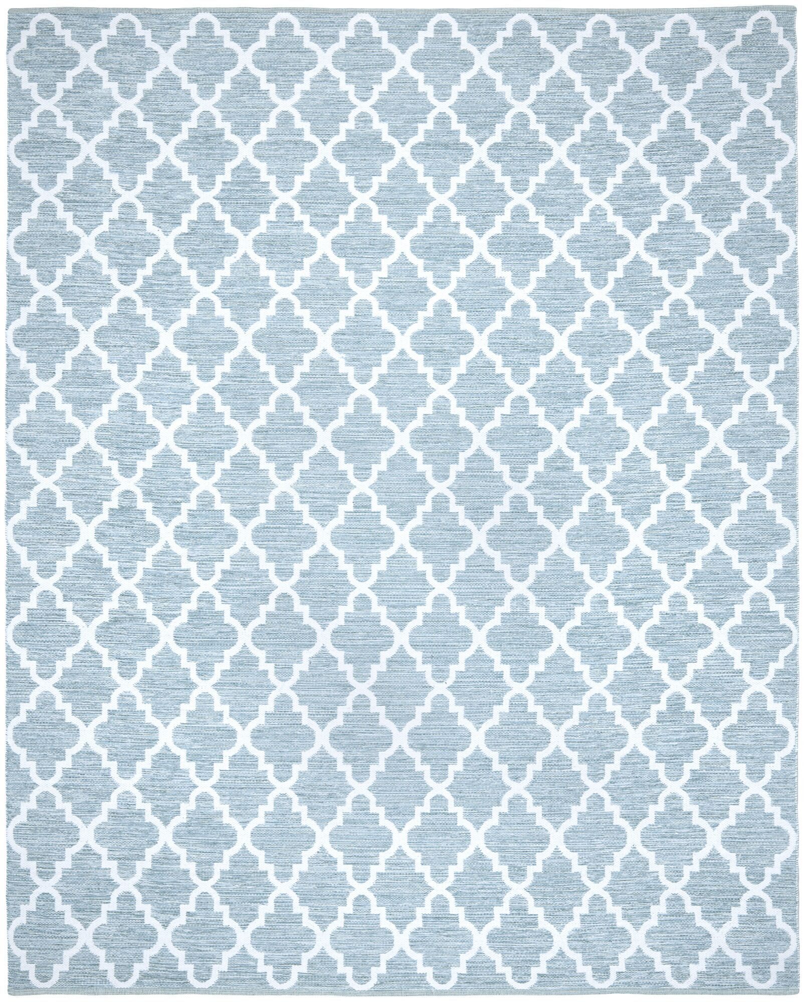 Valley Hand-Woven Light Blue/Ivory Area Rug Rug Size: Rectangle 8' x 10'