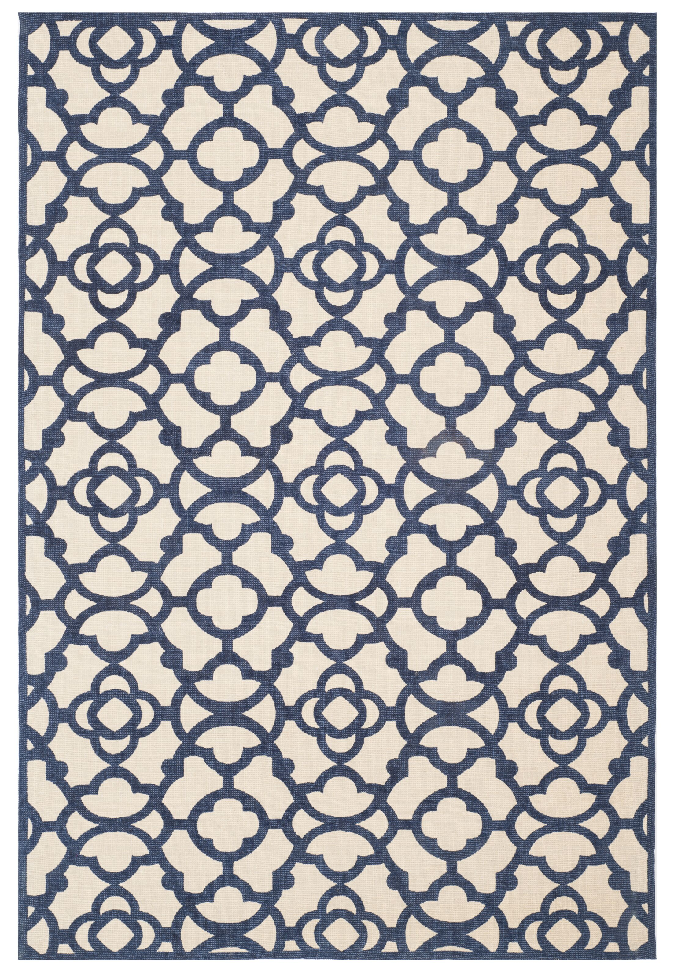 Quentin Road Ivory & Navy Area Rug Rug Size: 4' x 6'
