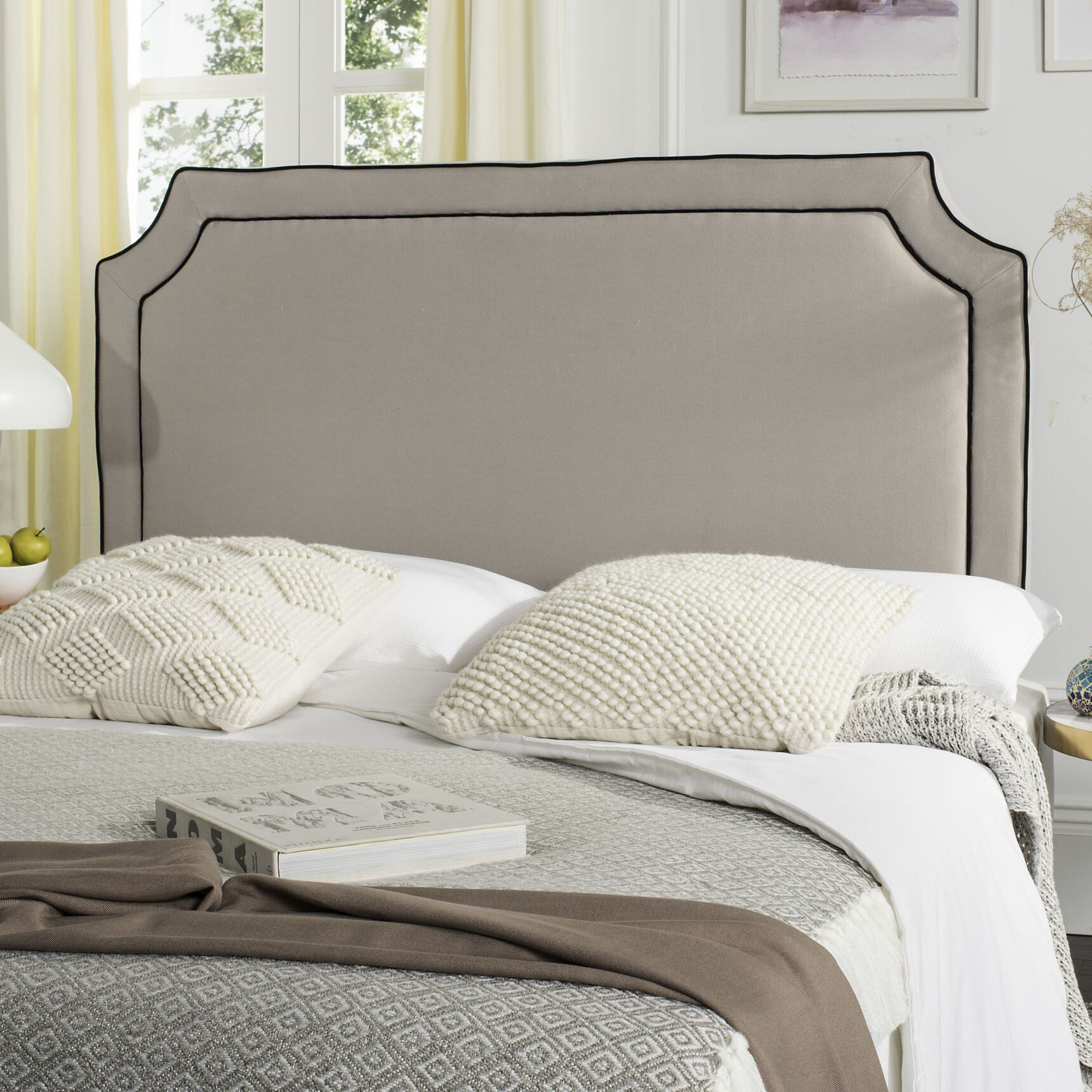 Cloverdale Upholstered Panel Headboard Upholstery: Linen Taupe, Size: Twin