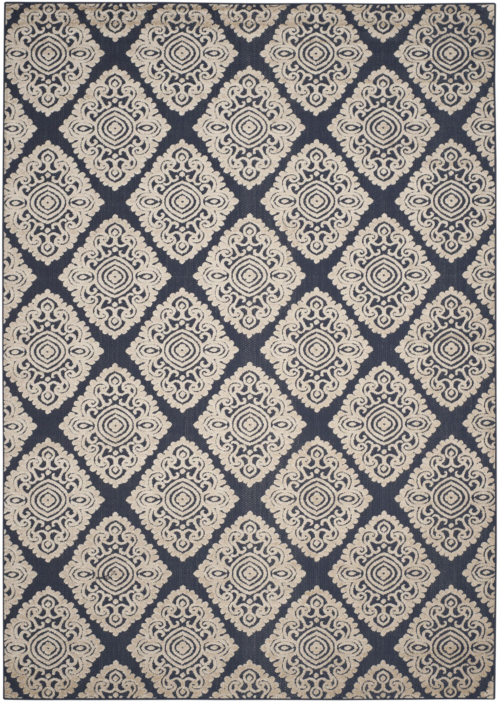 Mannox Cream/Navy Blue Indoor/Outdoor Area Rug Rug Size: Rectangle 8' x 11'2