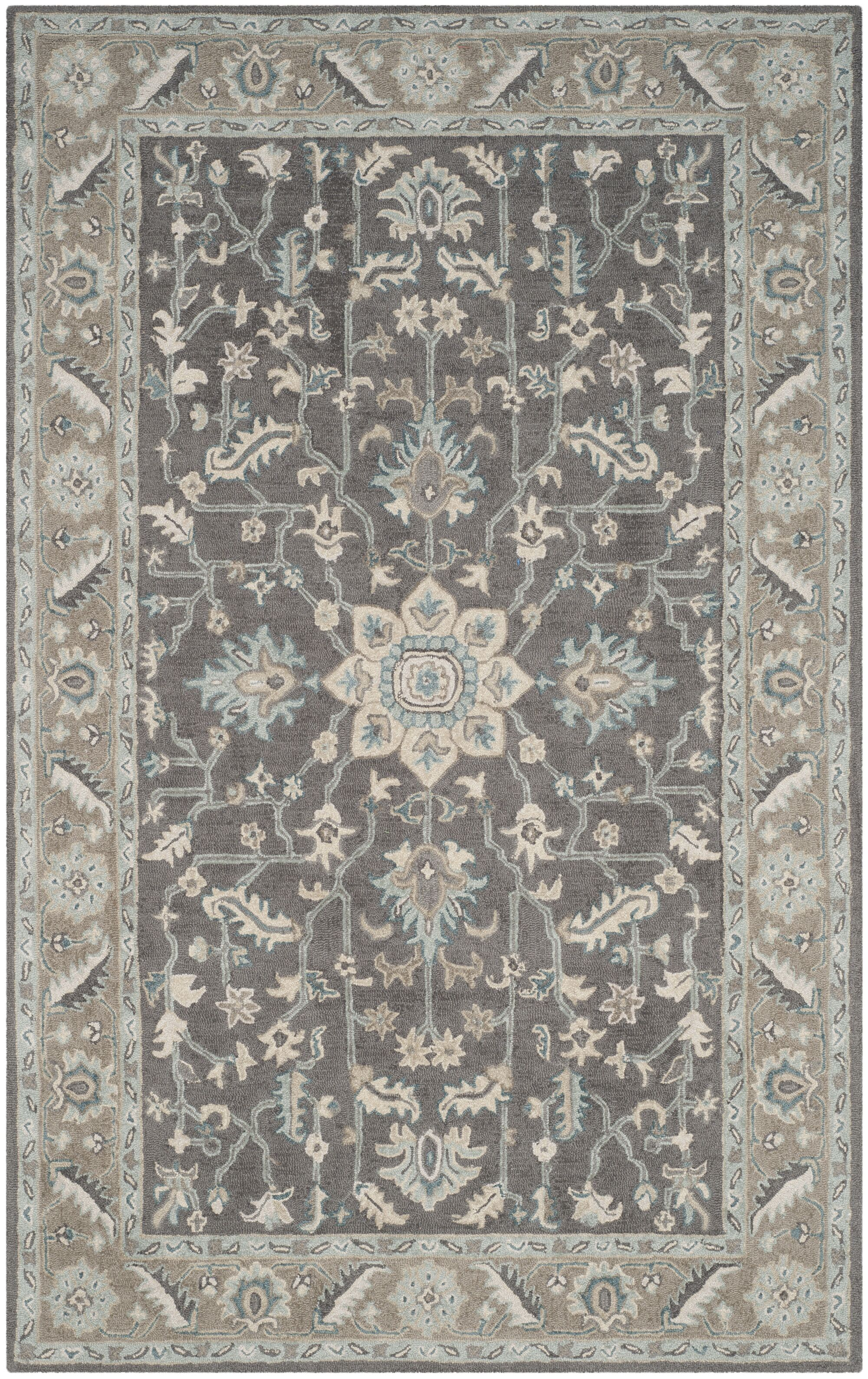 Kilbourne Hand-Tufted Dark Gray/Light Brown Area Rug Rug Size: Rectangle 4' x 6'