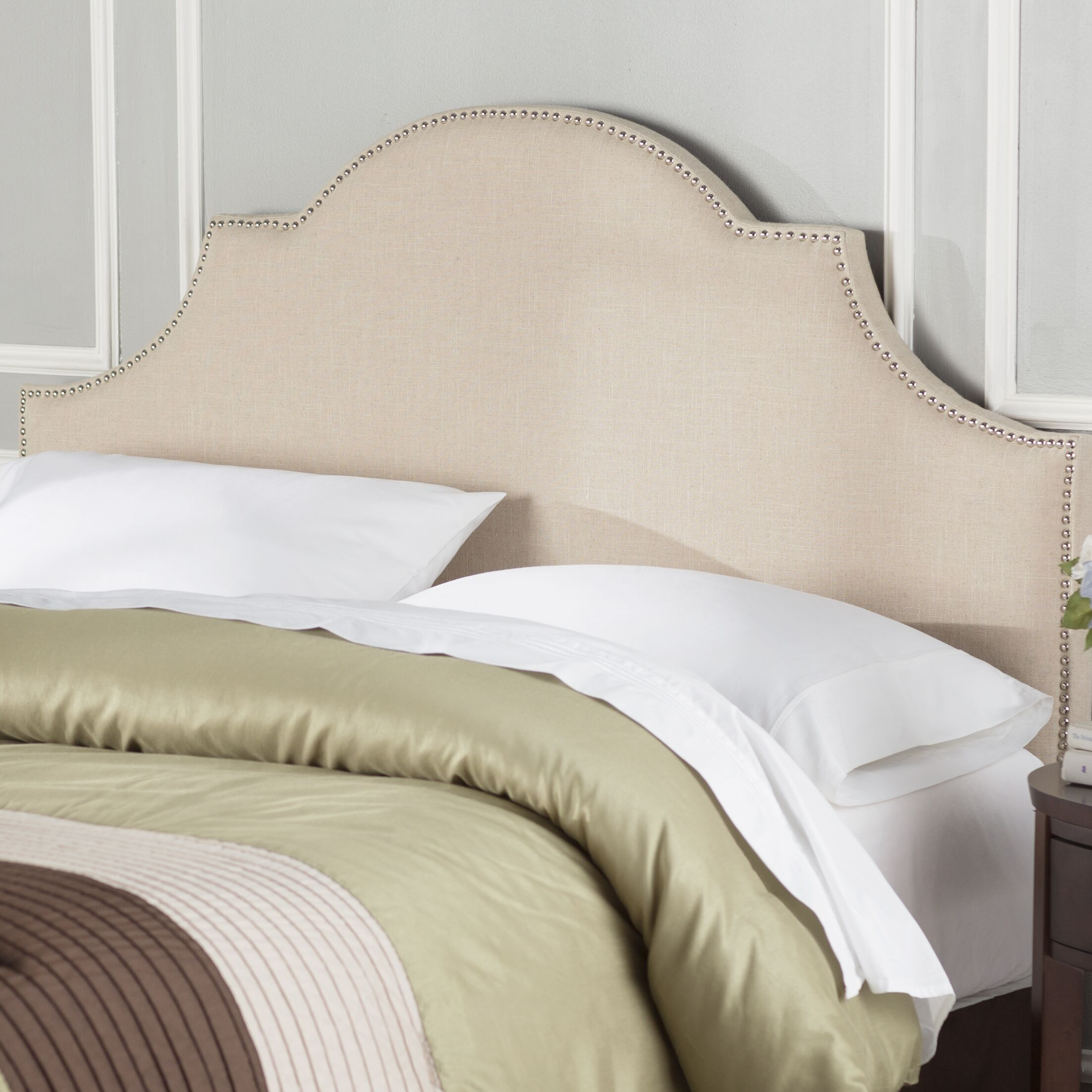 Caswell Upholstered Panel Headboard Size: Queen, Color: Hemp, Upholstery: Linen